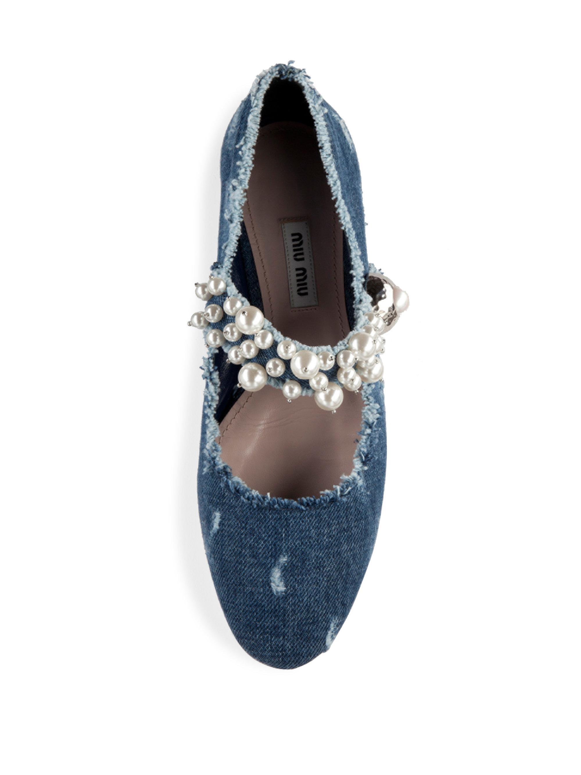 a11cf946c37b0 ... Lyst - Miu Miu Pearl Bead Trim Frayed Denim Mary Jane Flats in Blue  most popular  Black Jelly Flats detailed pictures f1691 1f305  Tory Burch  ...