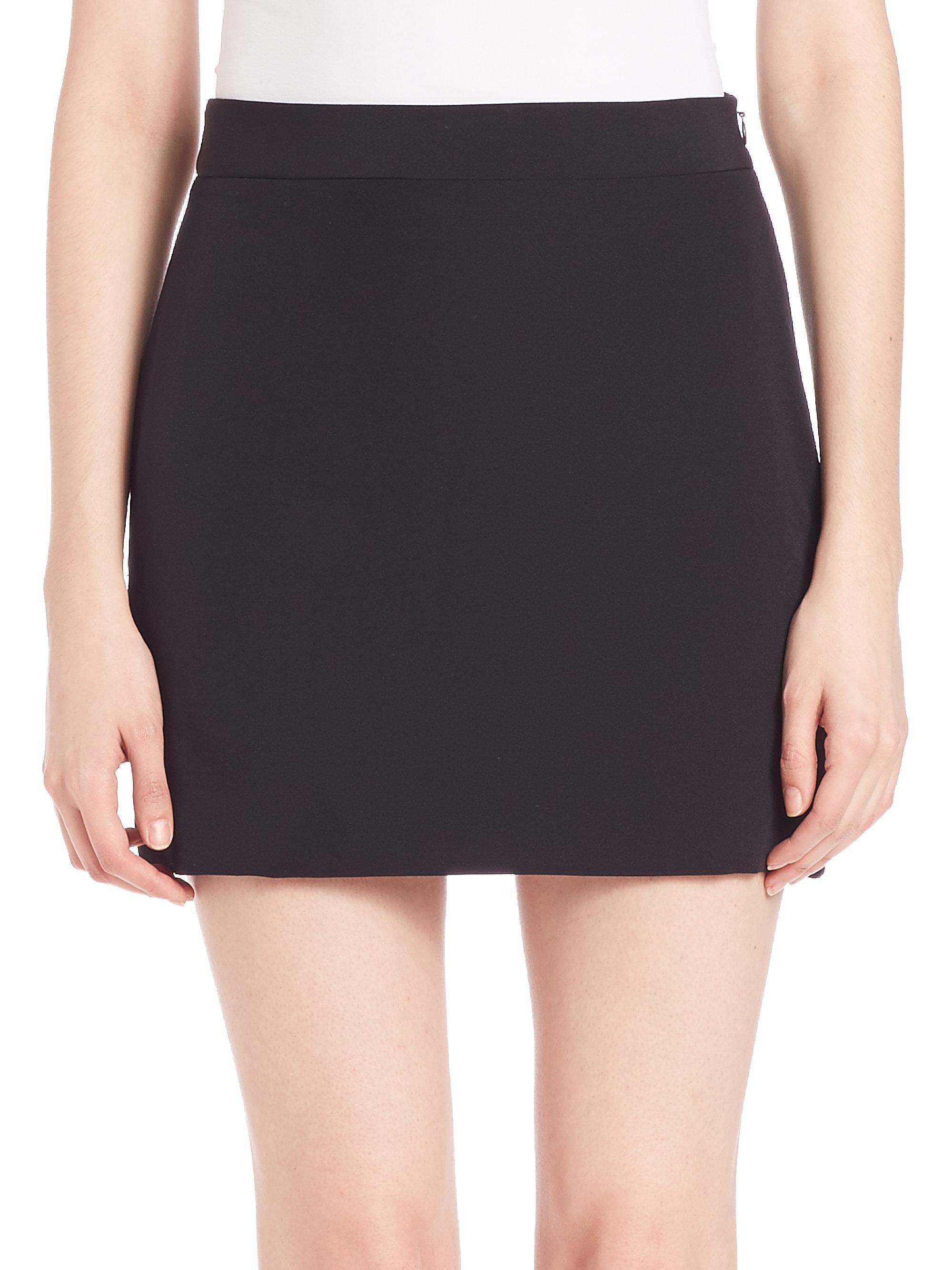 c6da74aab082 MILLY Italian Cady Modern Mini Skirt in Black - Lyst