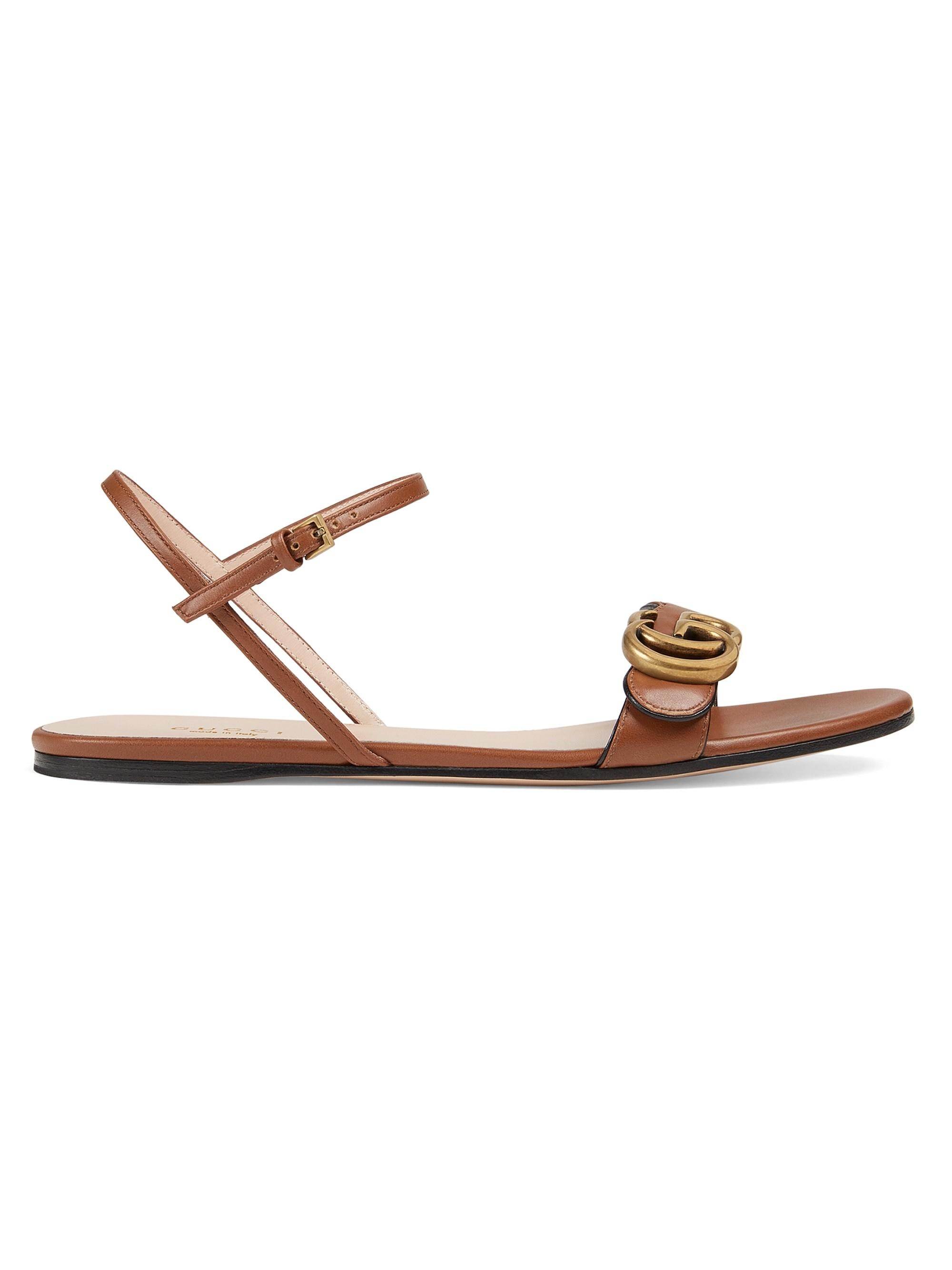 e067266eb1978f Lyst - Gucci Marmont Leather Double G Sandals in Brown