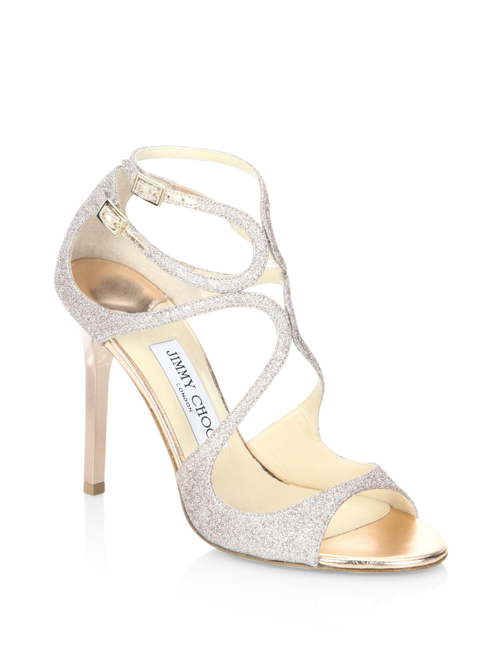 863033465cba4 Jimmy Choo Lang 100 Glitter Sandals in Metallic - Lyst