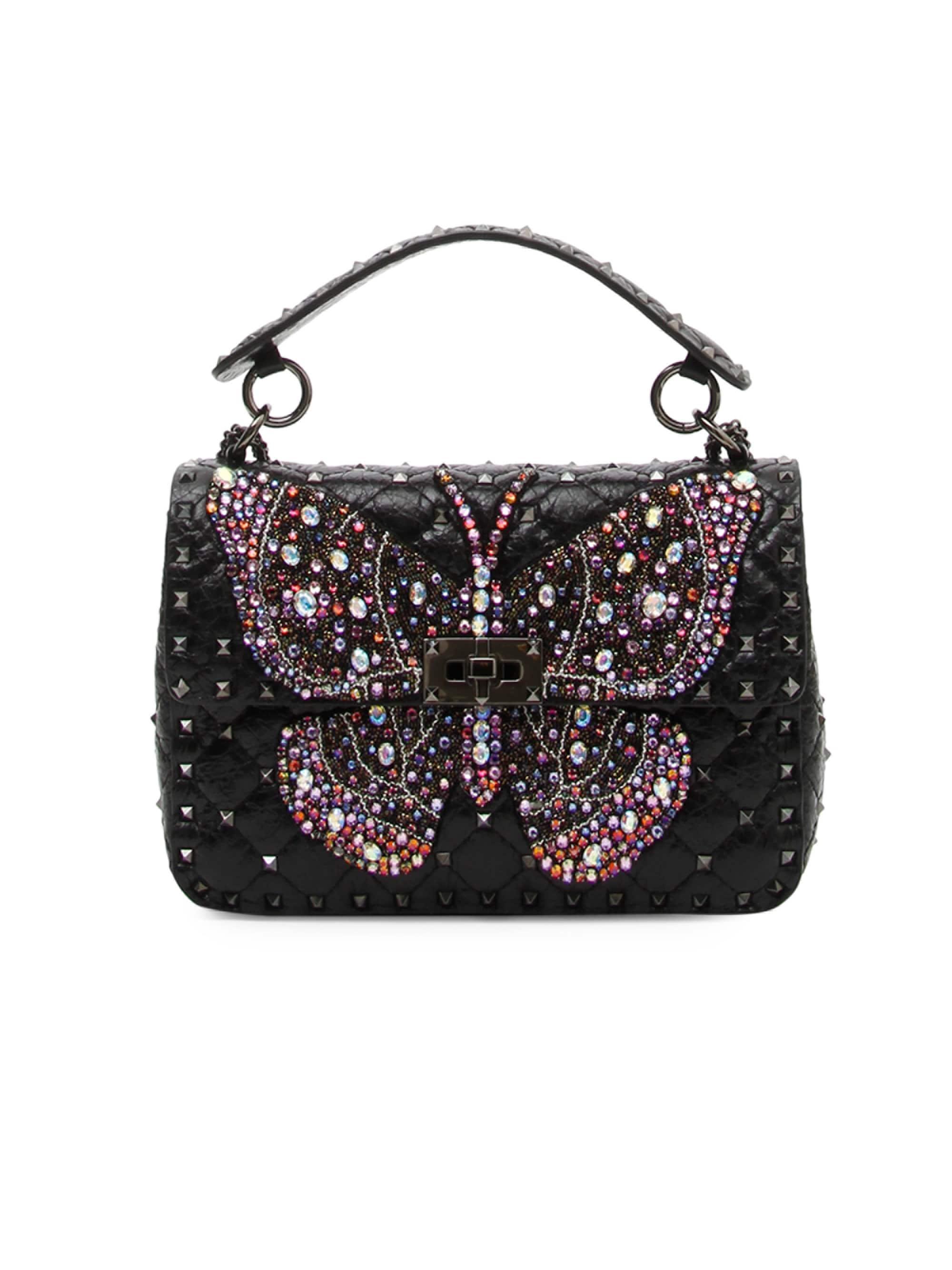 b529fd534d Lyst - Valentino Women's Rockstud Butterfly Shoulder Bag - Black in ...