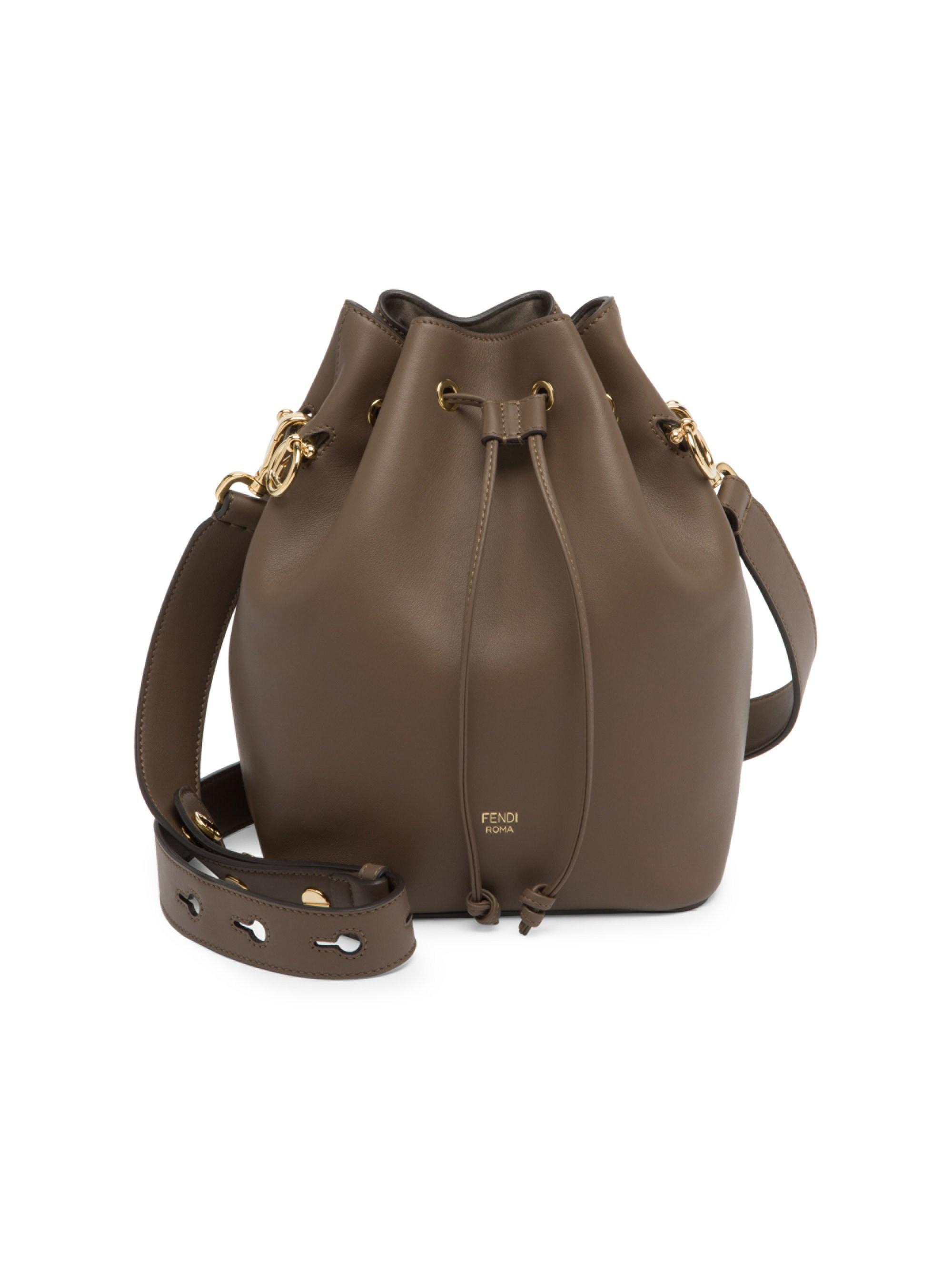 d6fdfca6214f Lyst - Fendi Women s Mon Tresor Leather Bucket Bag - Brown in Brown