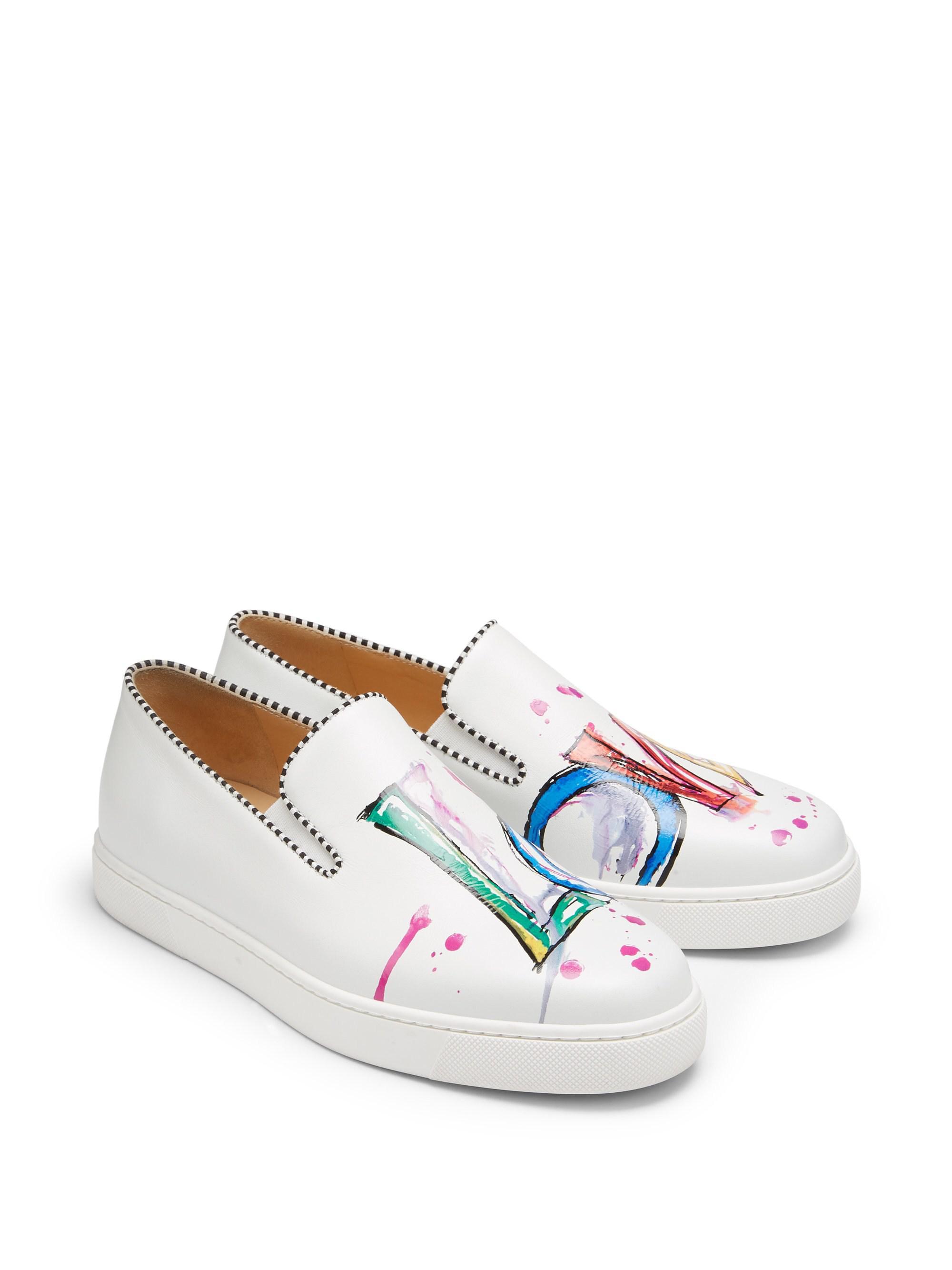 0761e2868b0 Lyst - Christian Louboutin Loubi Love Leather Sneakers in White