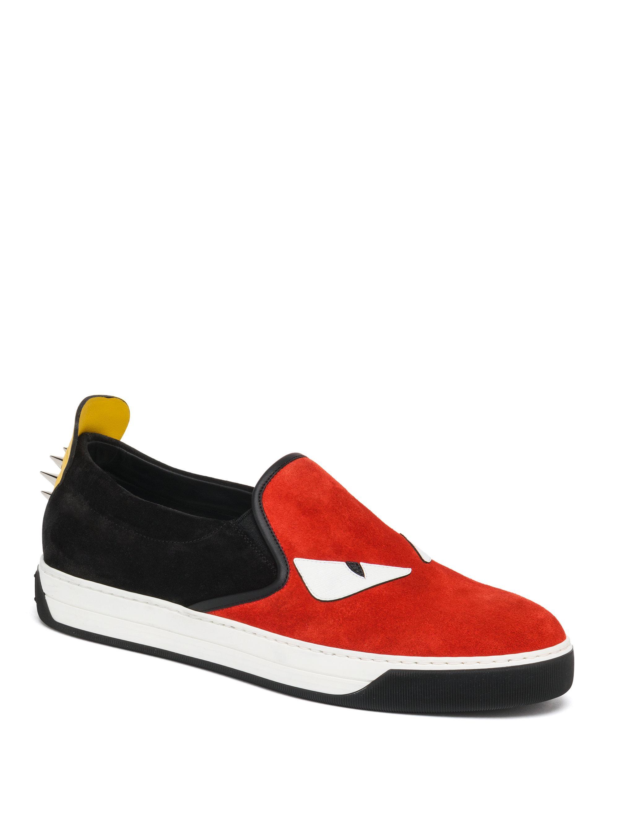 ca360223 Fendi Red Monster Slip-on Sneakers for men