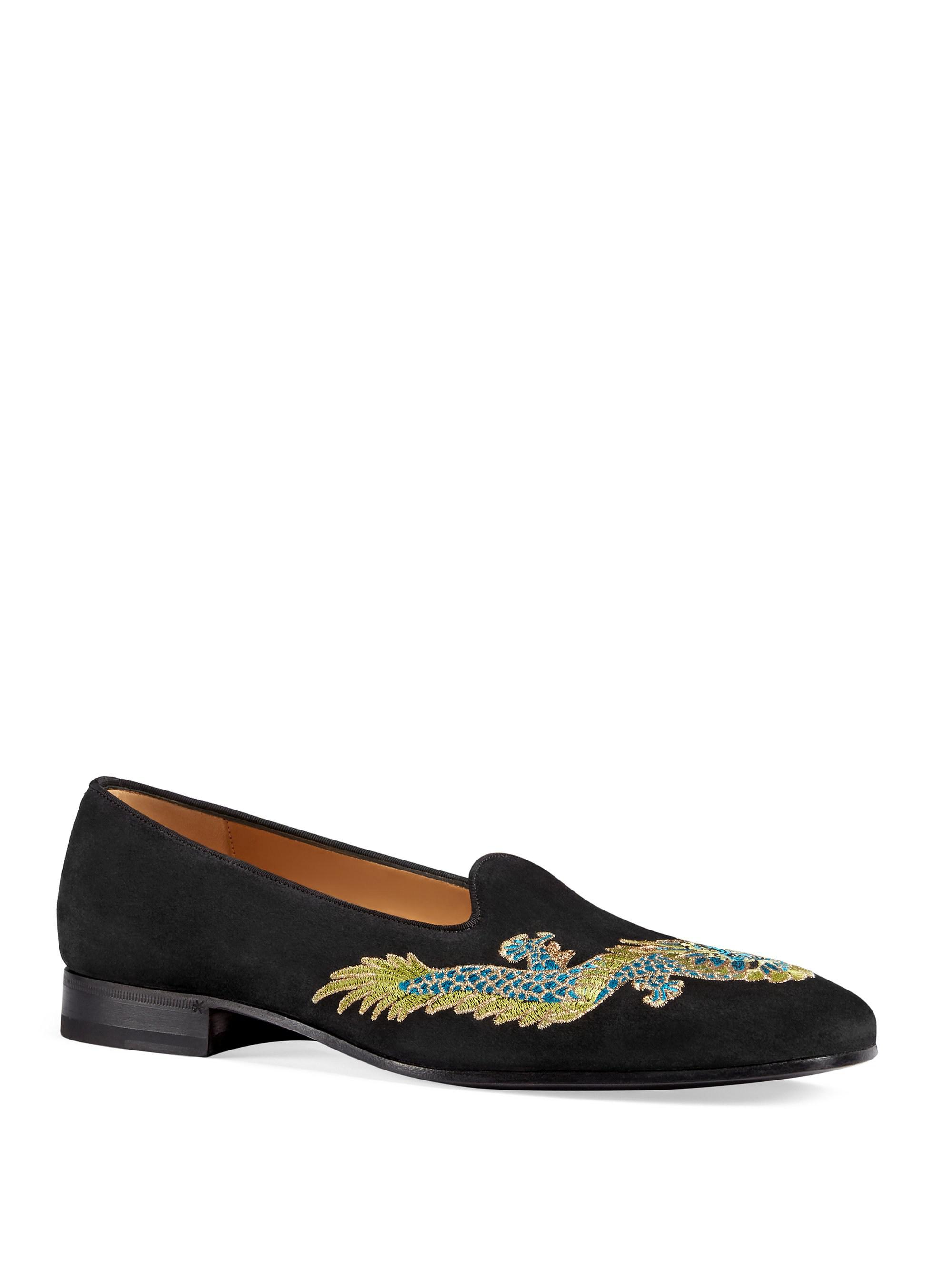 Gucci Suede Loafer With Dragon