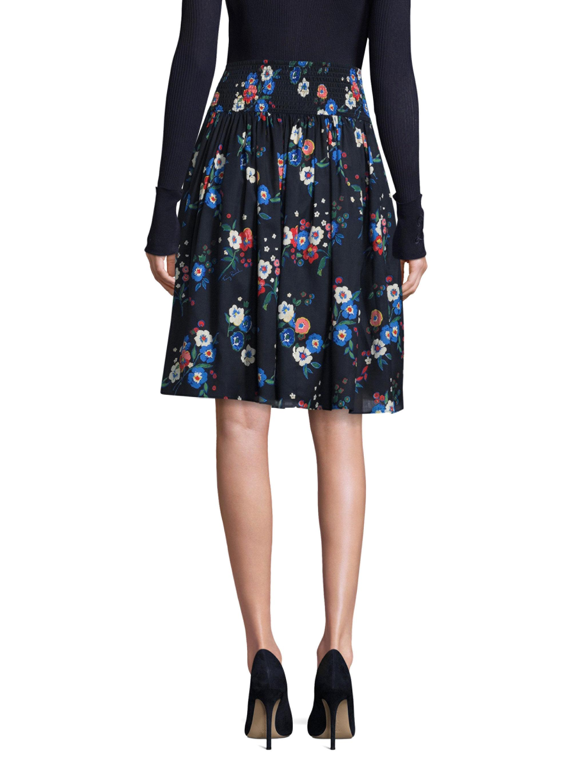Lyst tory burch blaire floral print skirt in blue for Tory burch fashion island