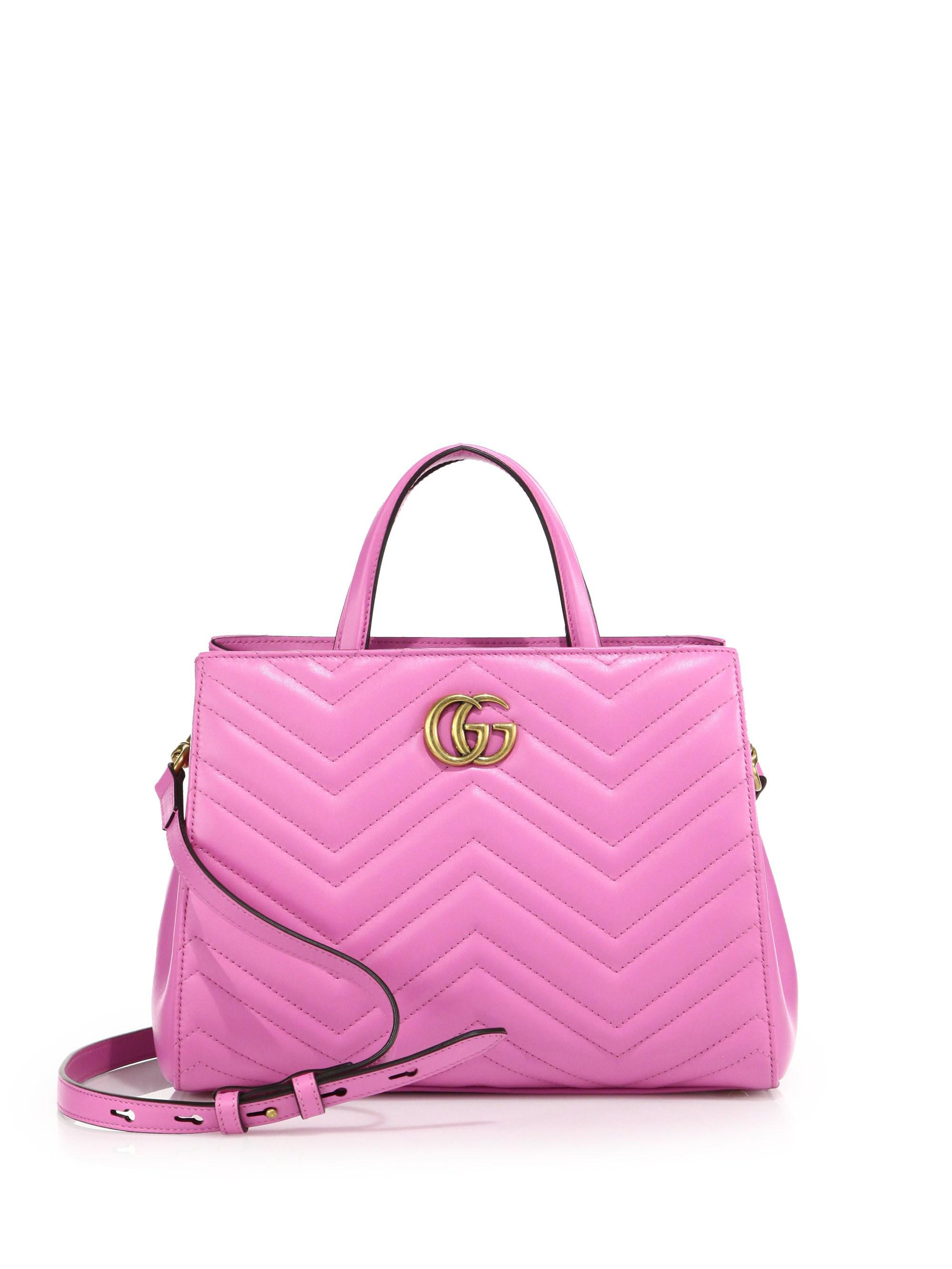 e4b327aaa6cb Lyst - Gucci GG Marmont Matelasse Leather Top-Handle Tote in Pink