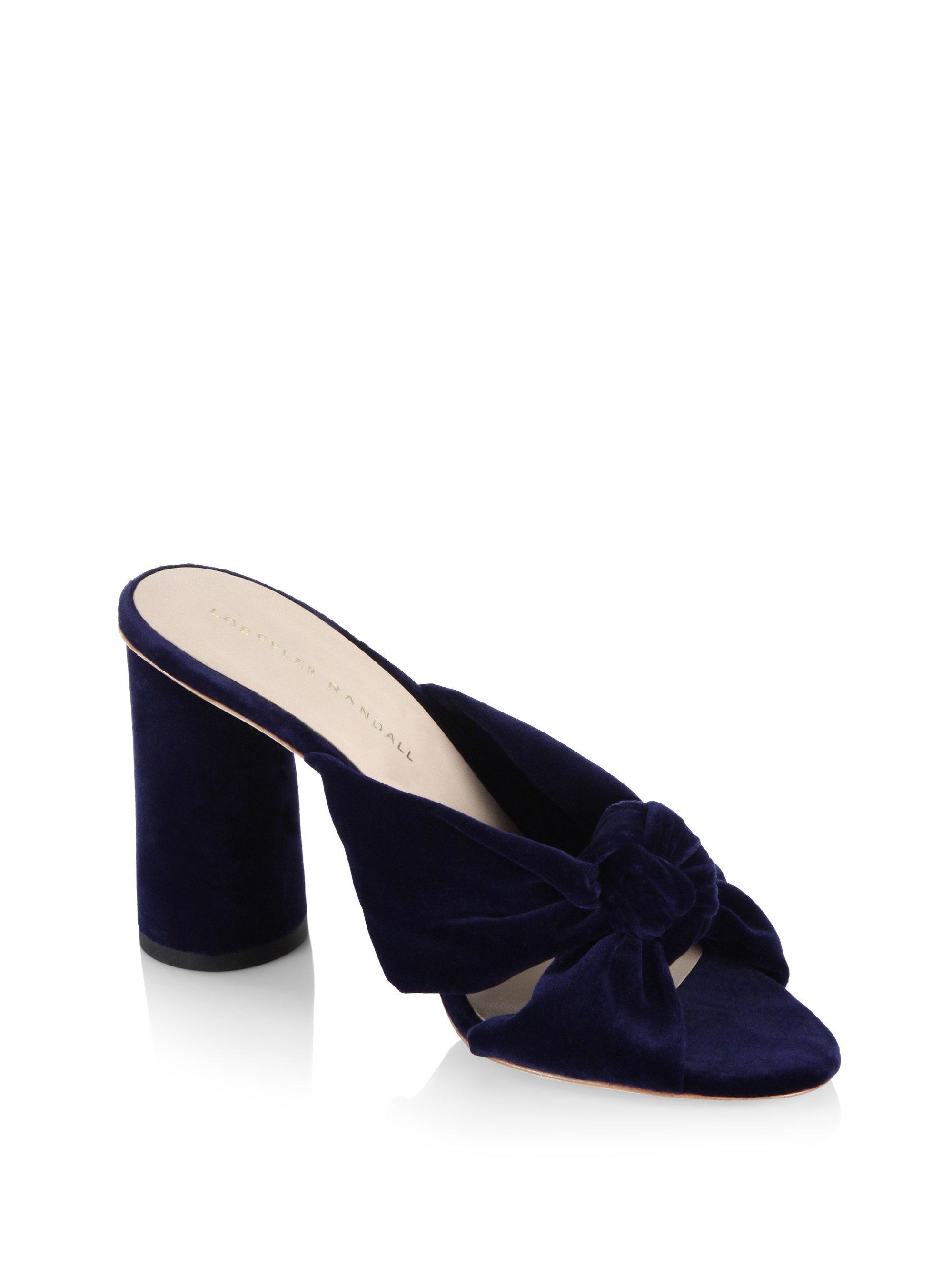 cc62f2e177c Women's Blue Coco Knotted Velvet Block Heel Mules