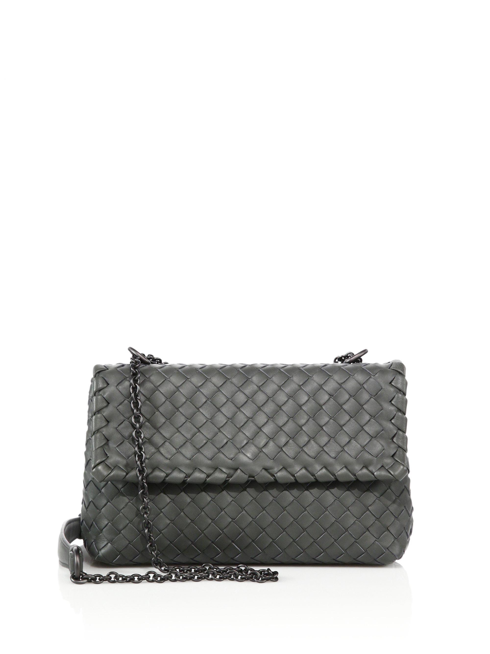 807a968be0 Bottega Veneta. Women s Gray Olimpia Medium Intrecciato Leather Cross-Body  Bag