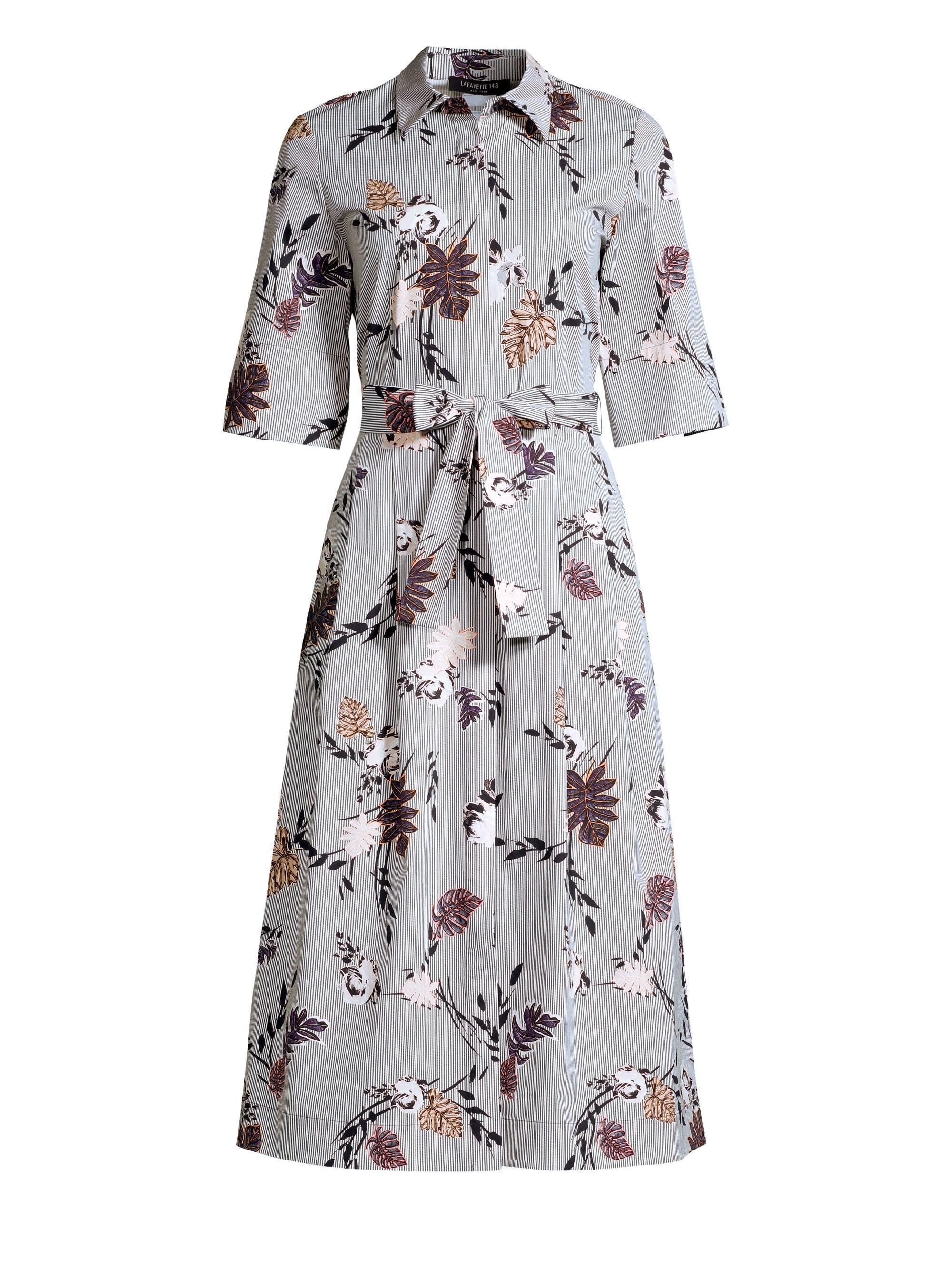 d7dc8d1ddc5e Lafayette 148 New York Eleni Stripe Floral Print A-line Shirt Dress ...