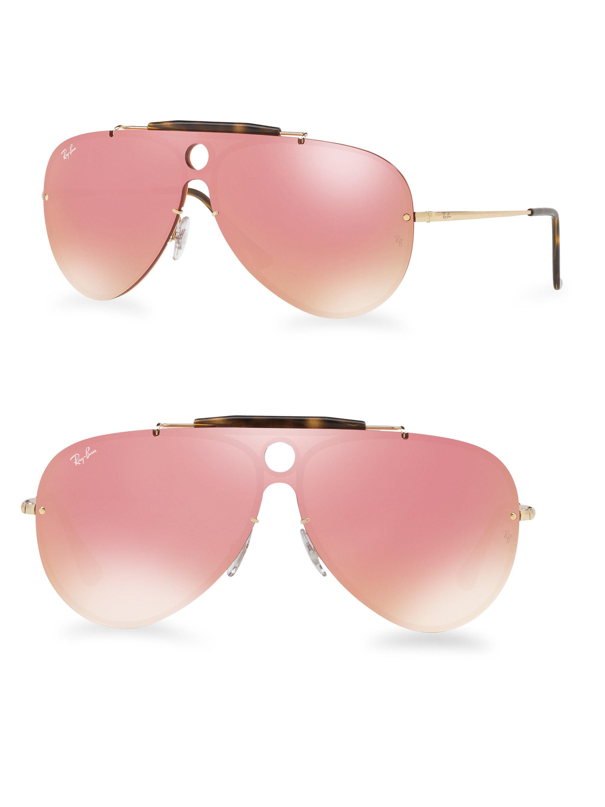 d2f9a81d32 ... new zealand lyst ray ban blaze shooter mirrored aviator sunglasses in  pink 1a360 b281f