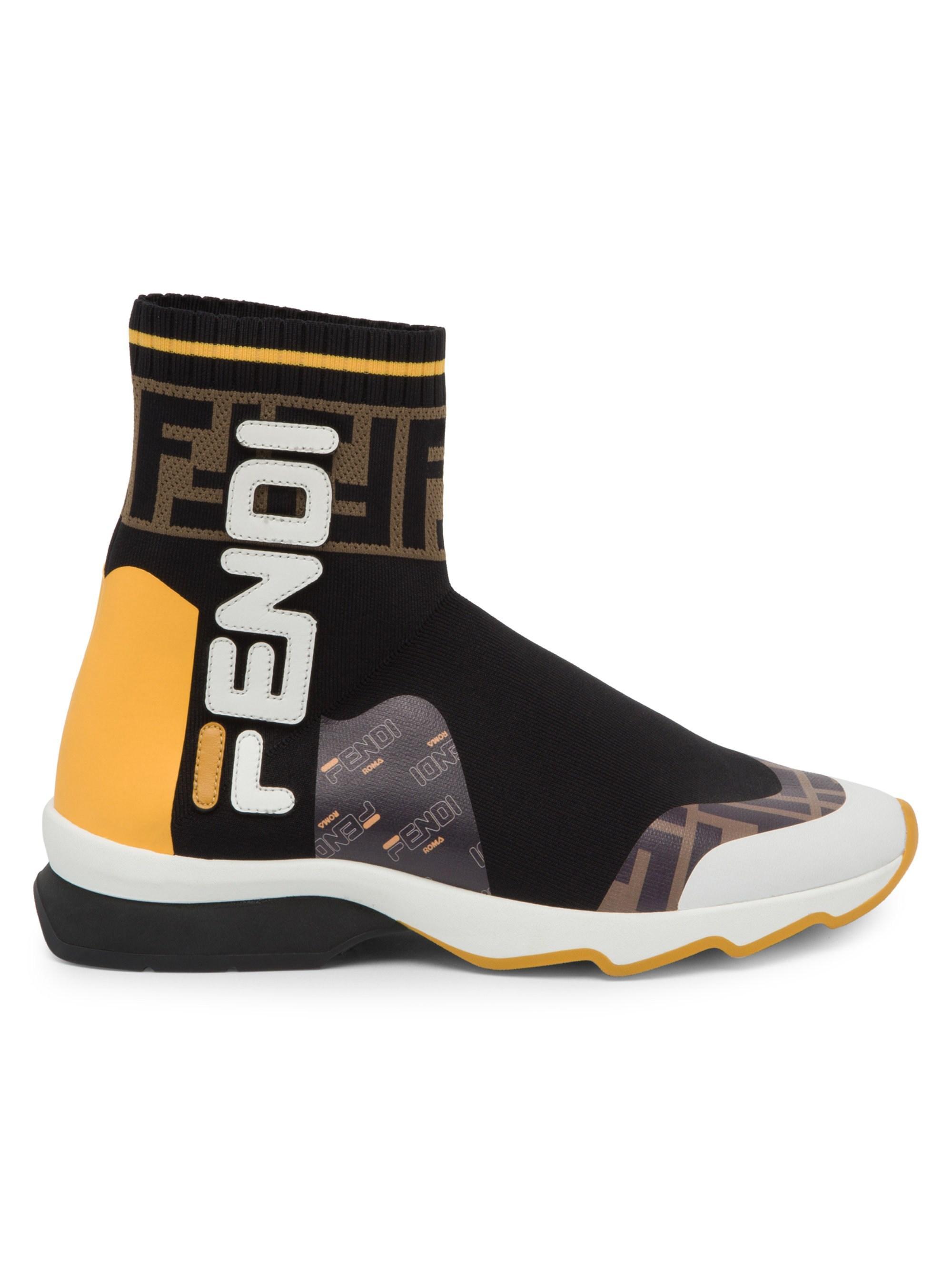 Fendi Leather X Fila Sock Sneakers in