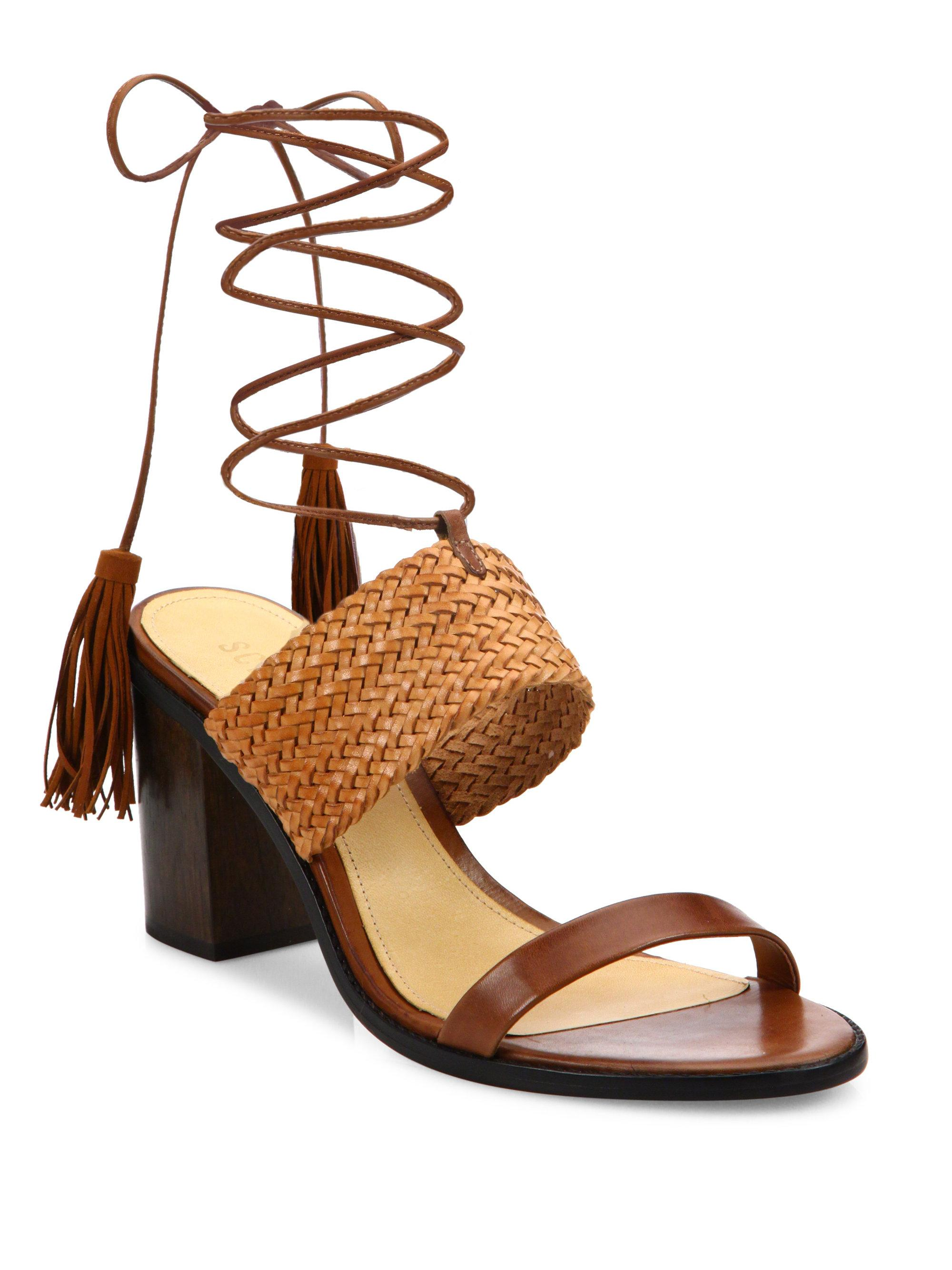 84d994c65259 Schutz Luky Lace-up Leather Sandals in Brown - Lyst