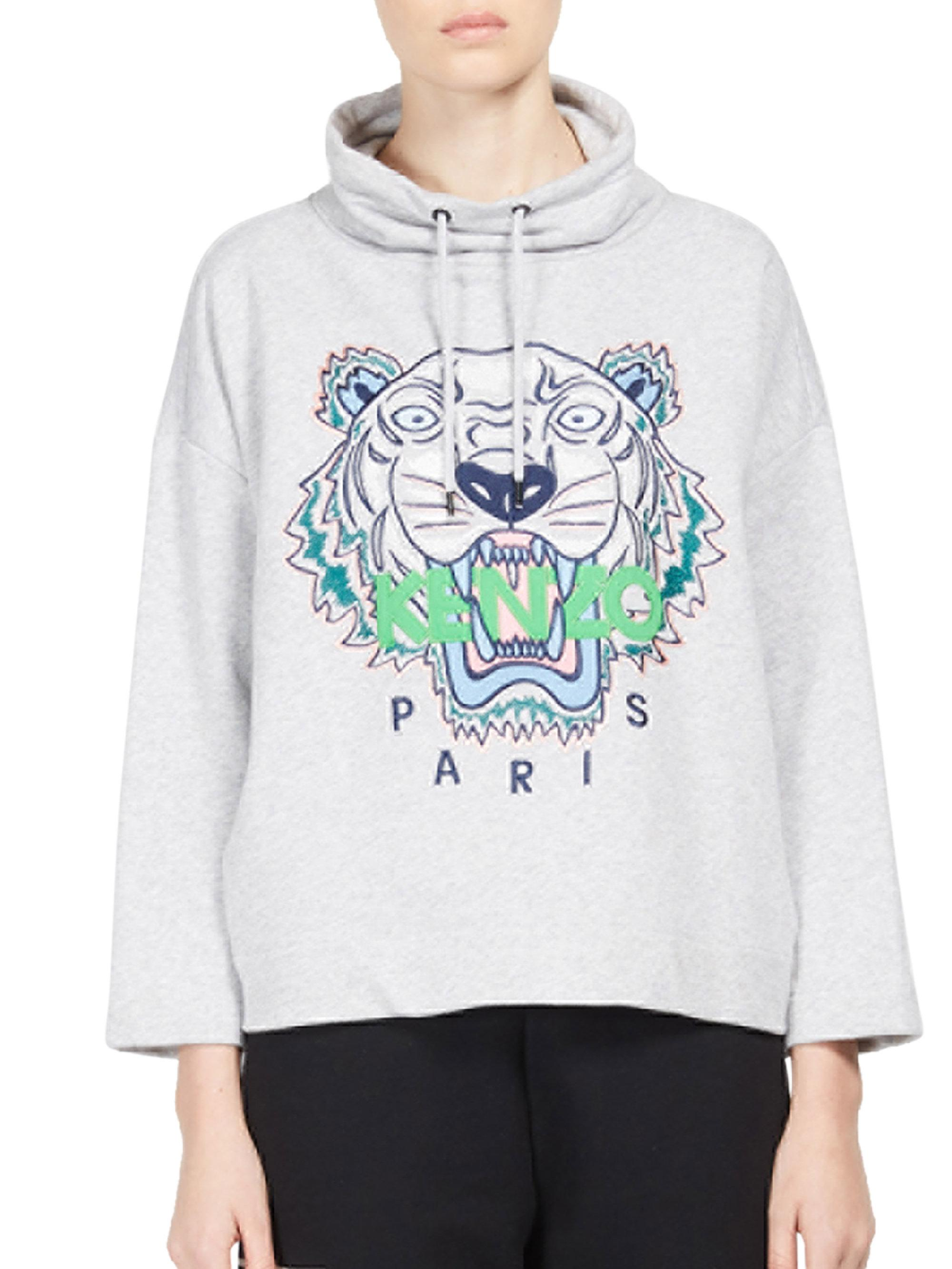 cf46396a Lyst - KENZO Embroidered Tiger Icon Funnelneck Sweatshirt in Gray