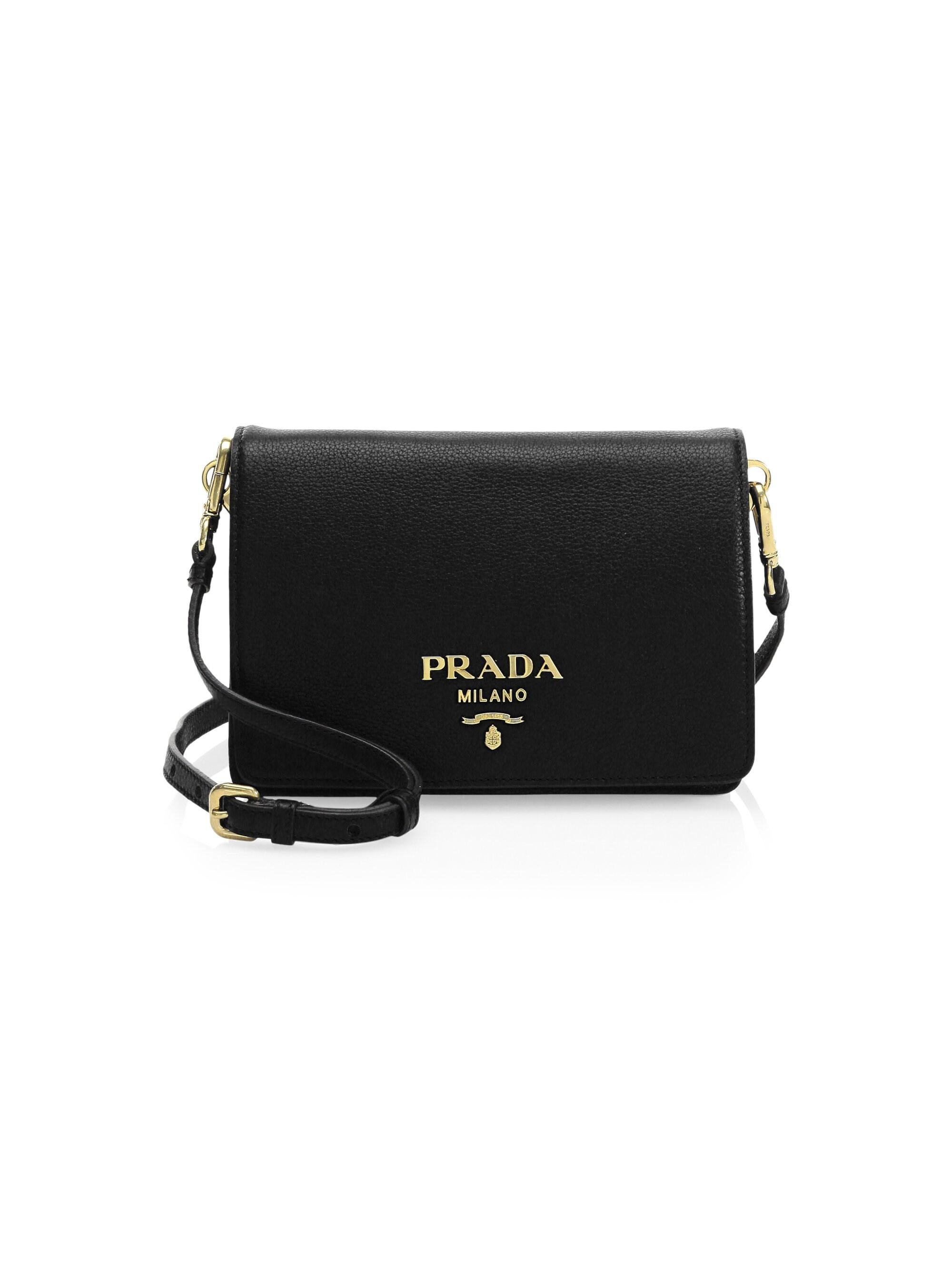 c3193e203603 Prada Small Daino Leather Shoulder Bag in Black - Lyst