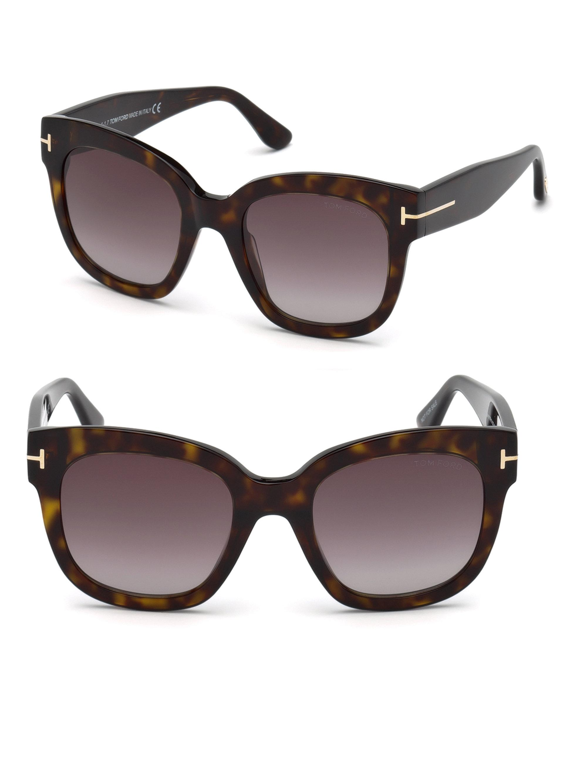 37496a8bd5 Tom Ford 55mm Beatrix Square Sunglasses in Brown - Lyst