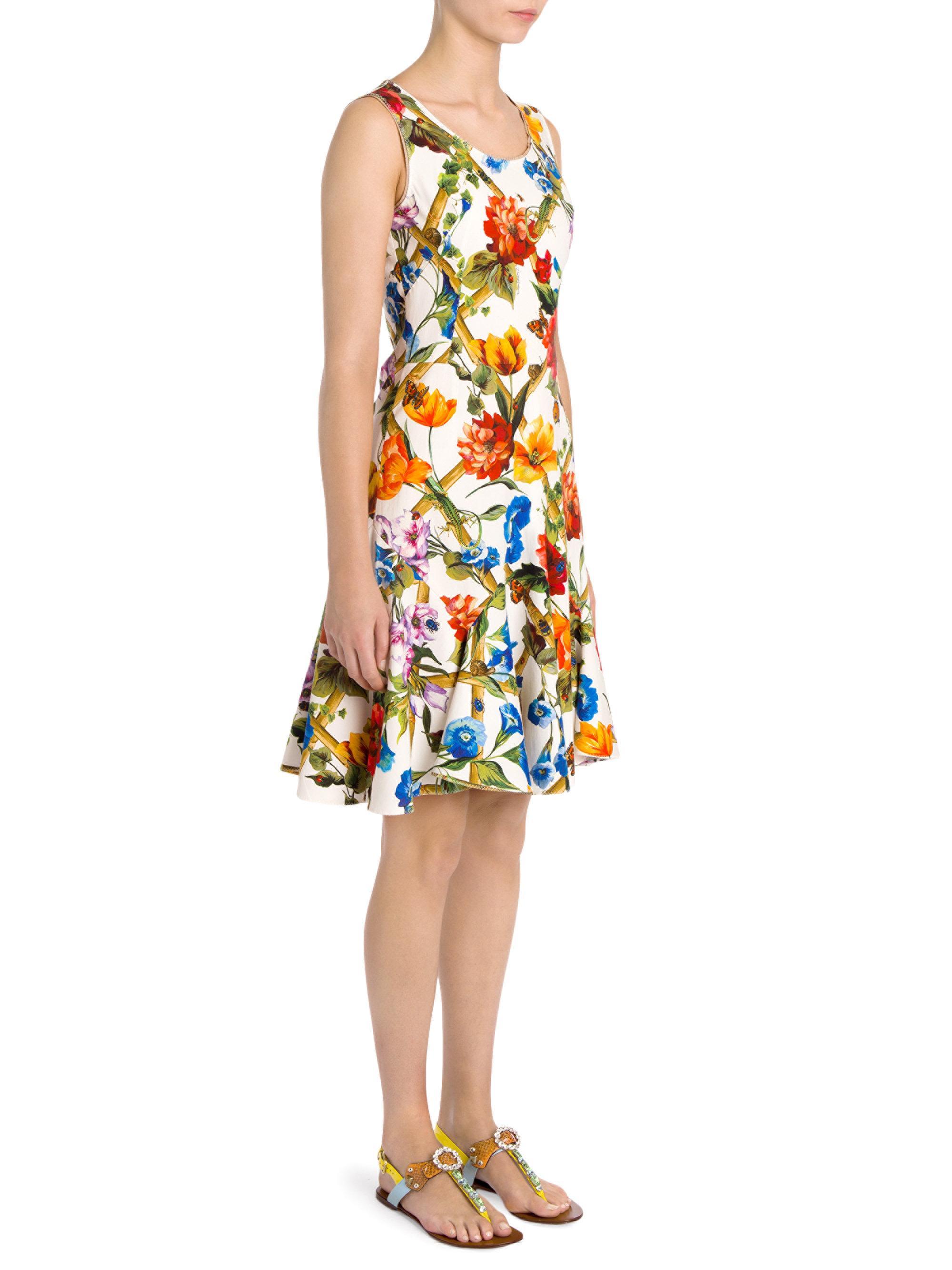 b7c45e8e3e5 Dolce   Gabbana Floral Bamboo Print Dress - Lyst