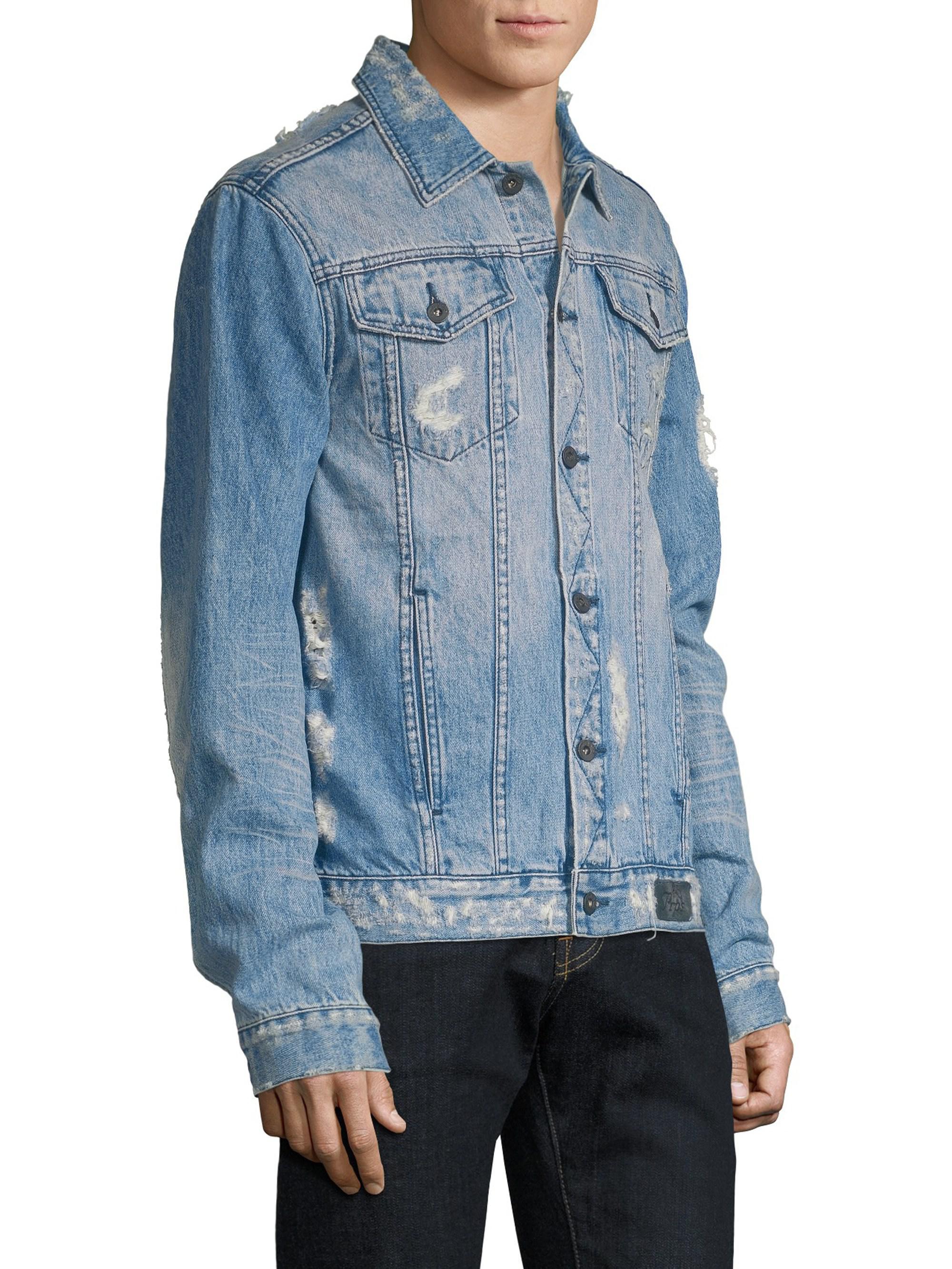 e191874f PRPS Destroyed Light Wash Denim Jacket in Blue for Men - Lyst