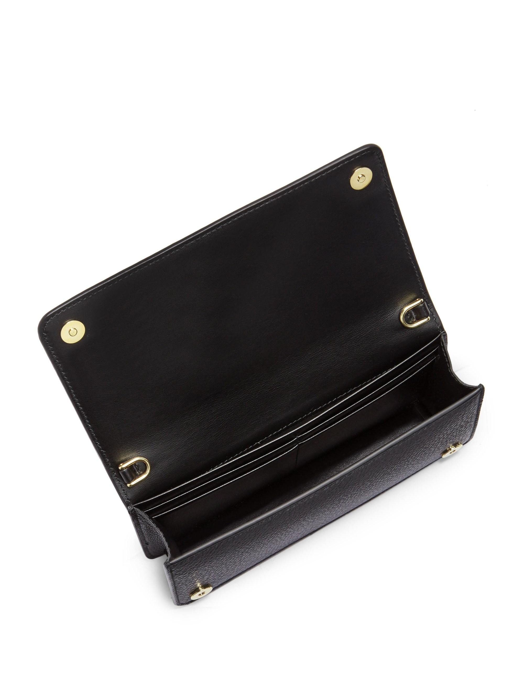 d38a8d0bfde1 Lyst - Prada Mini Bandoliera Leather Crossbody Bag in Black