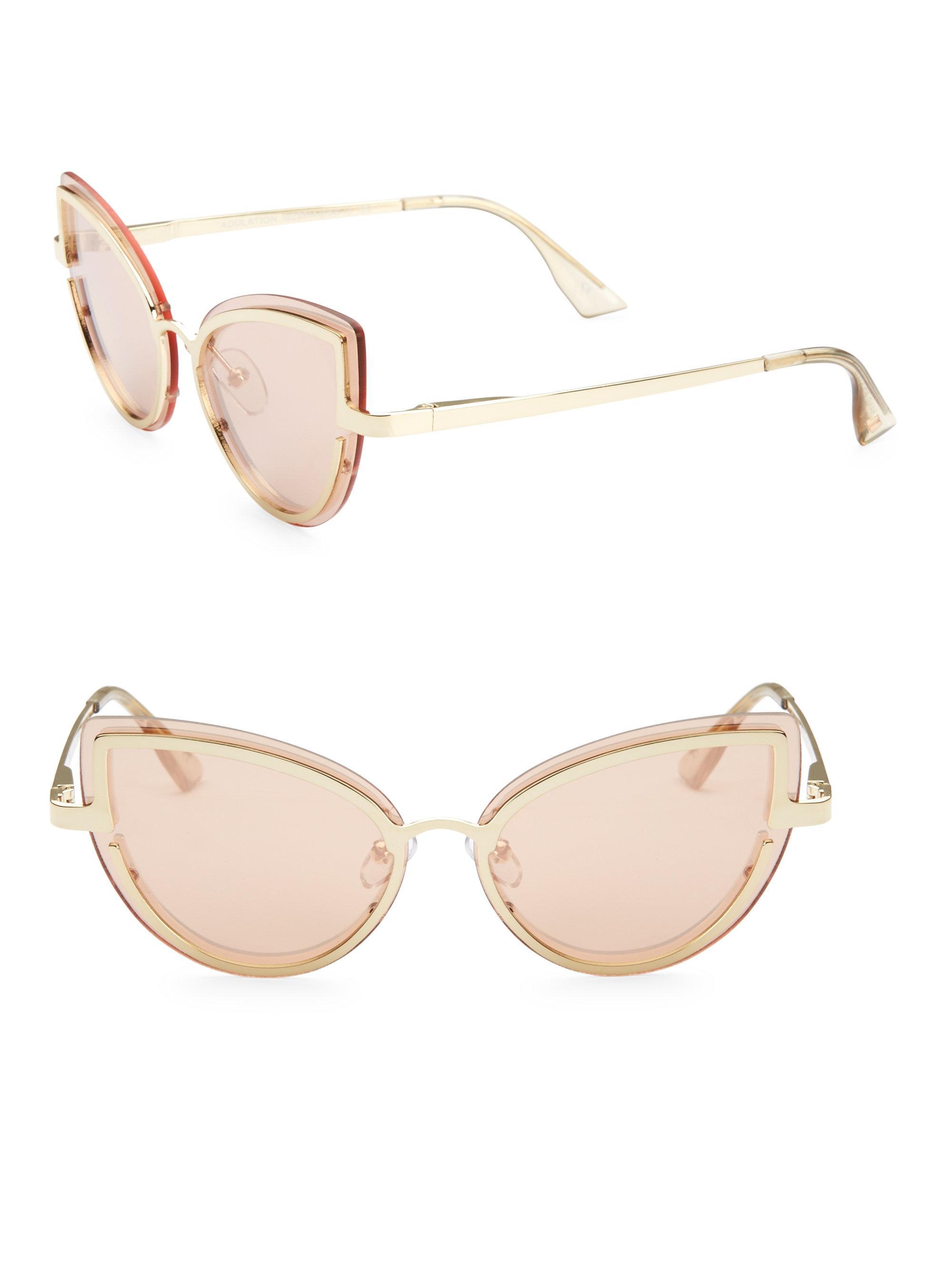 30e79236ca Le Specs Adulation Gold Cat Eye Sungles In Metallic Lyst