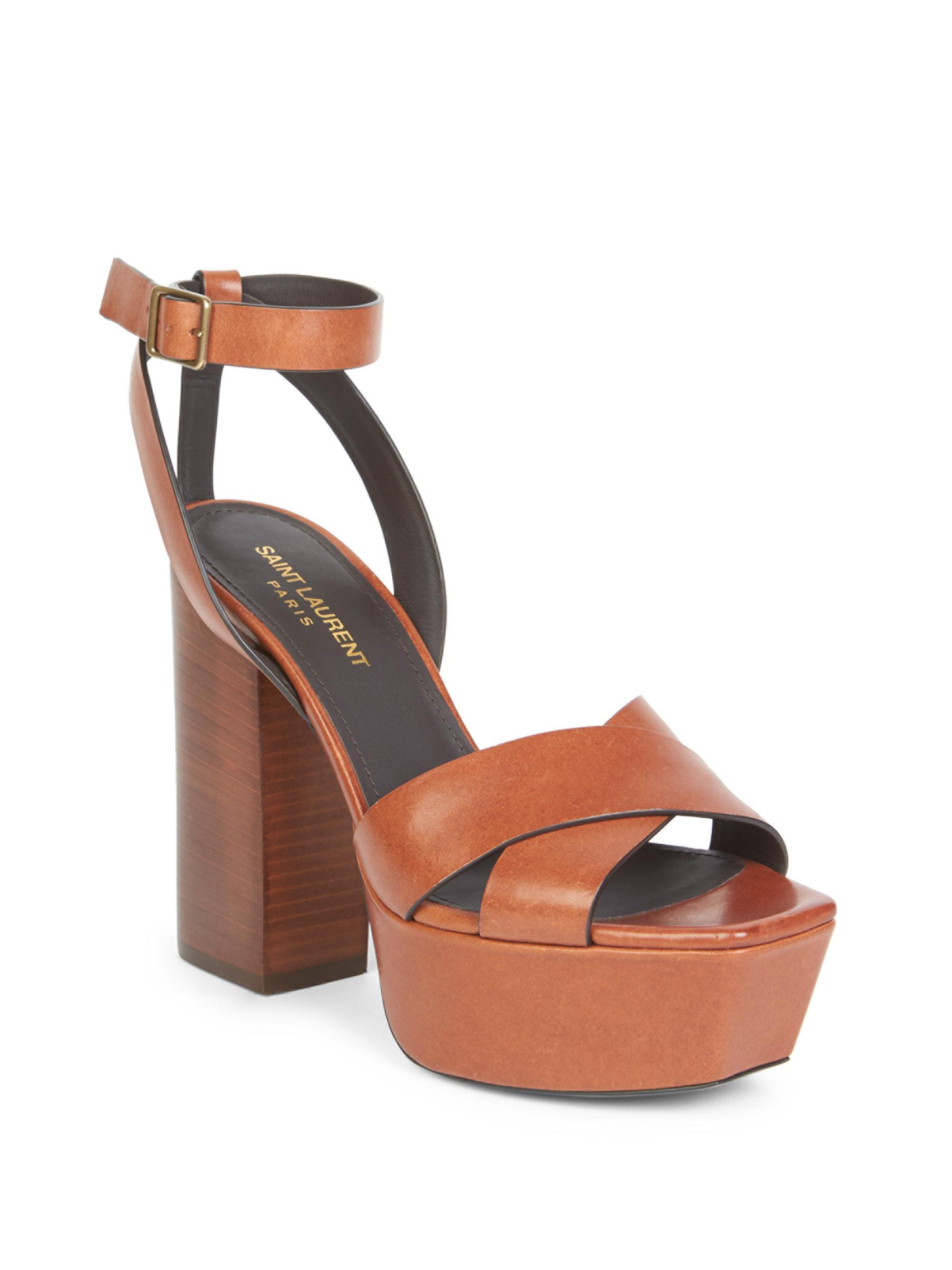 0fad5d37132 Saint Laurent Women s Farrah Ankle-strap Leather Platform Sandals ...