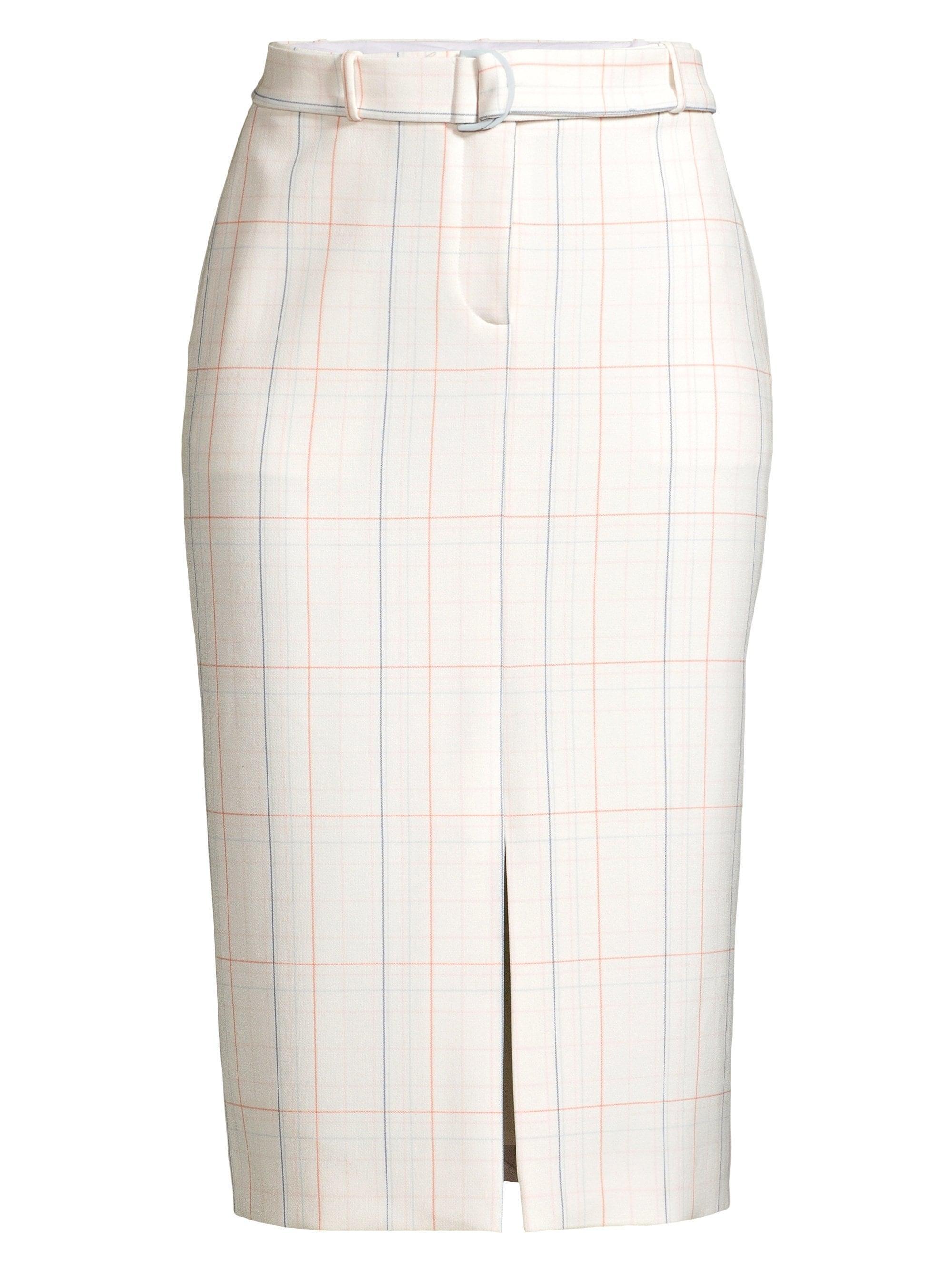 02404ec1aa Lyst - BOSS Women's Ponte Check Long Pencil Skirt - Vanilla Light ...