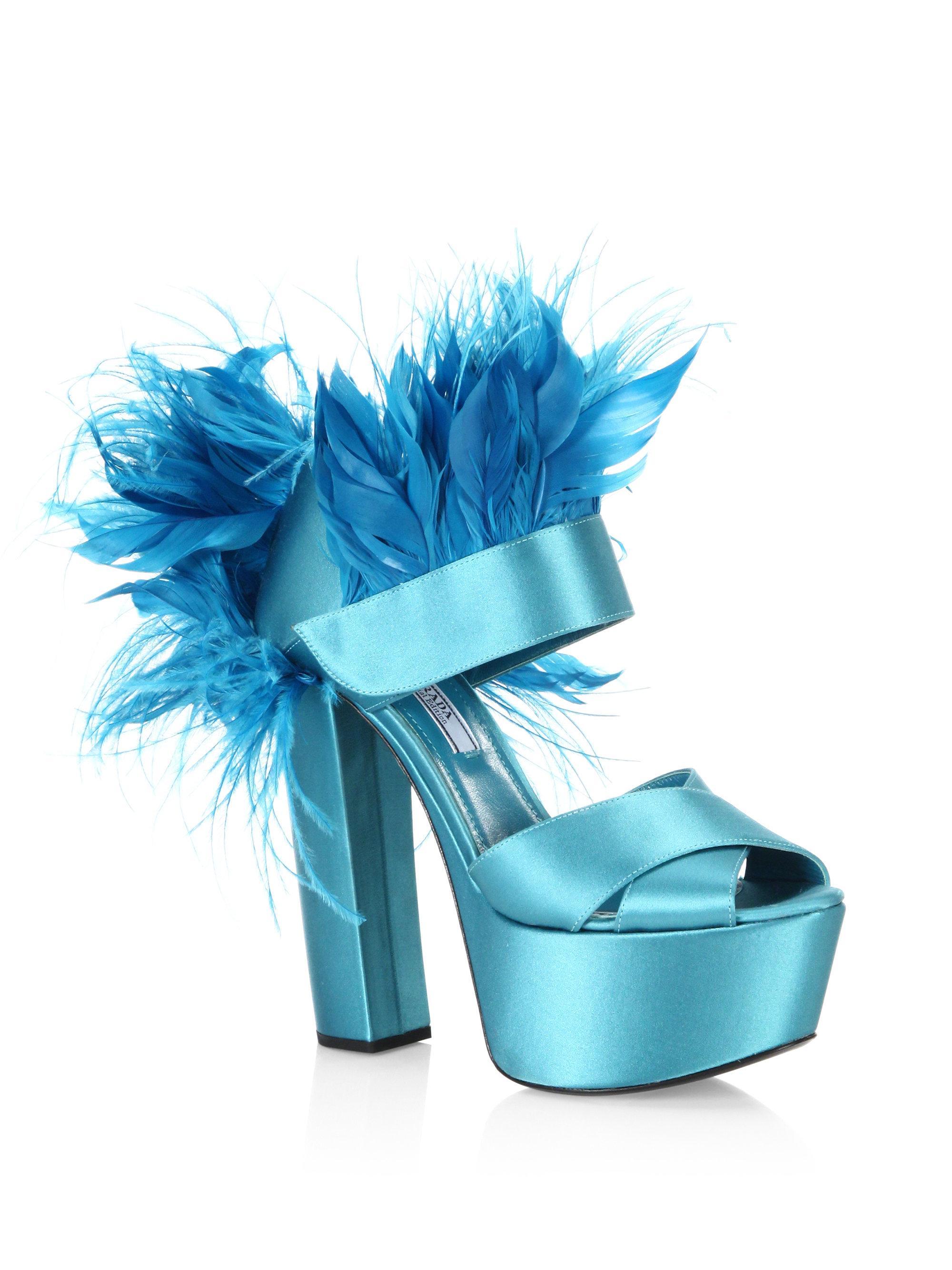 37097dc39a8 Lyst - Prada Feather-trim Satin Platform Sandals in Blue