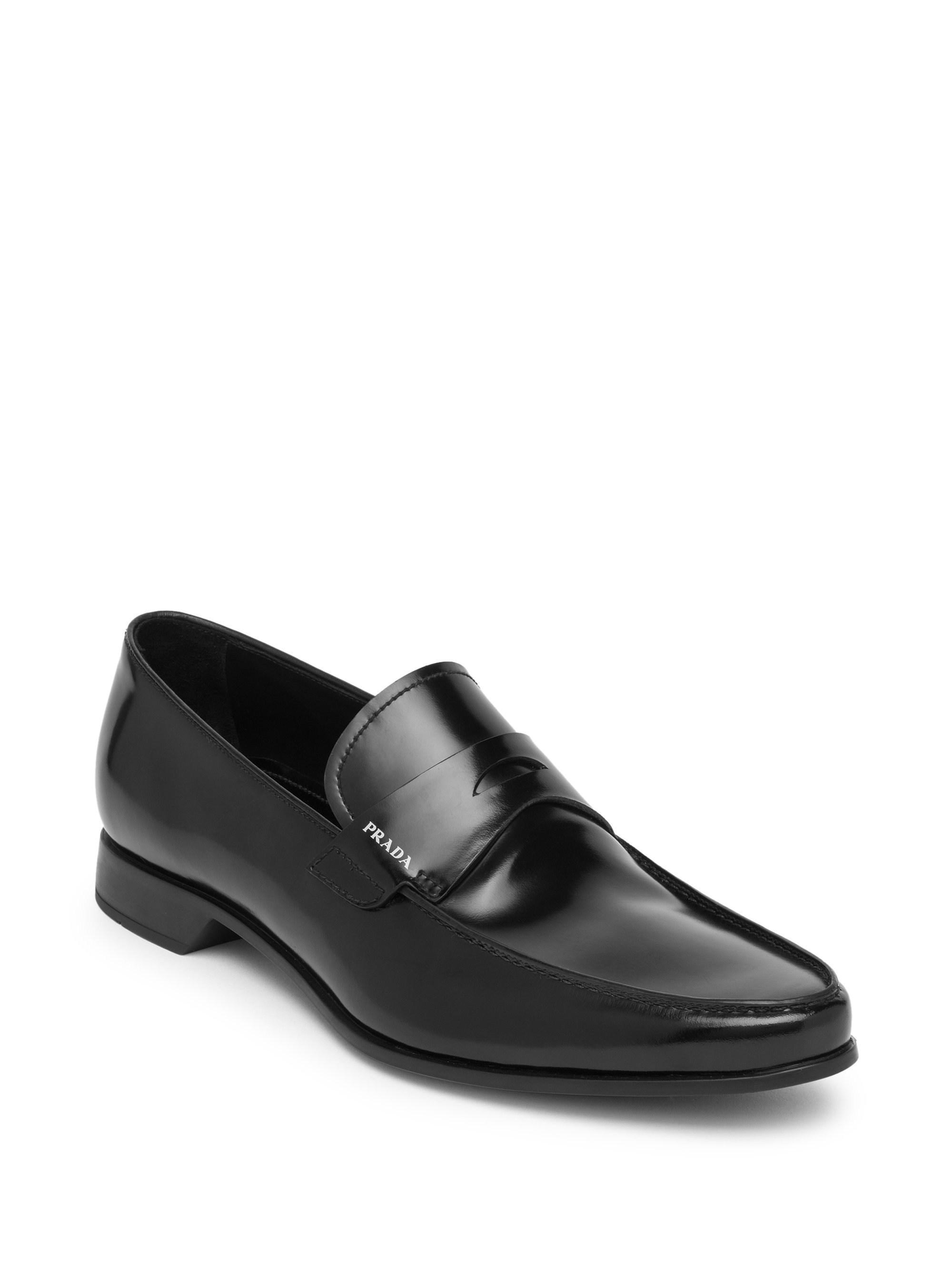 01a53243aa9 Prada - Black Spazzolato Fume Leather Loafers for Men - Lyst. View  fullscreen