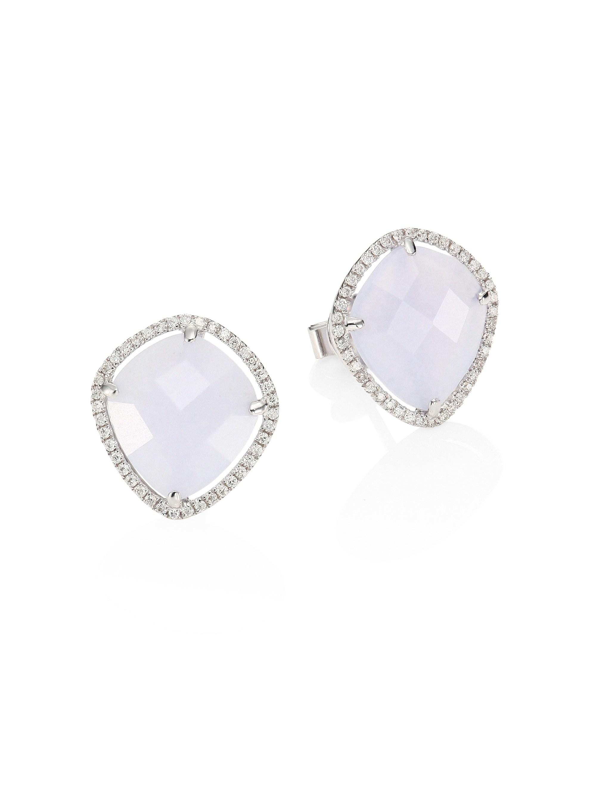 798e293ca Meira T. Metallic Women's Diamond, Blue Opal & 14k White Gold Stud Earrings  ...