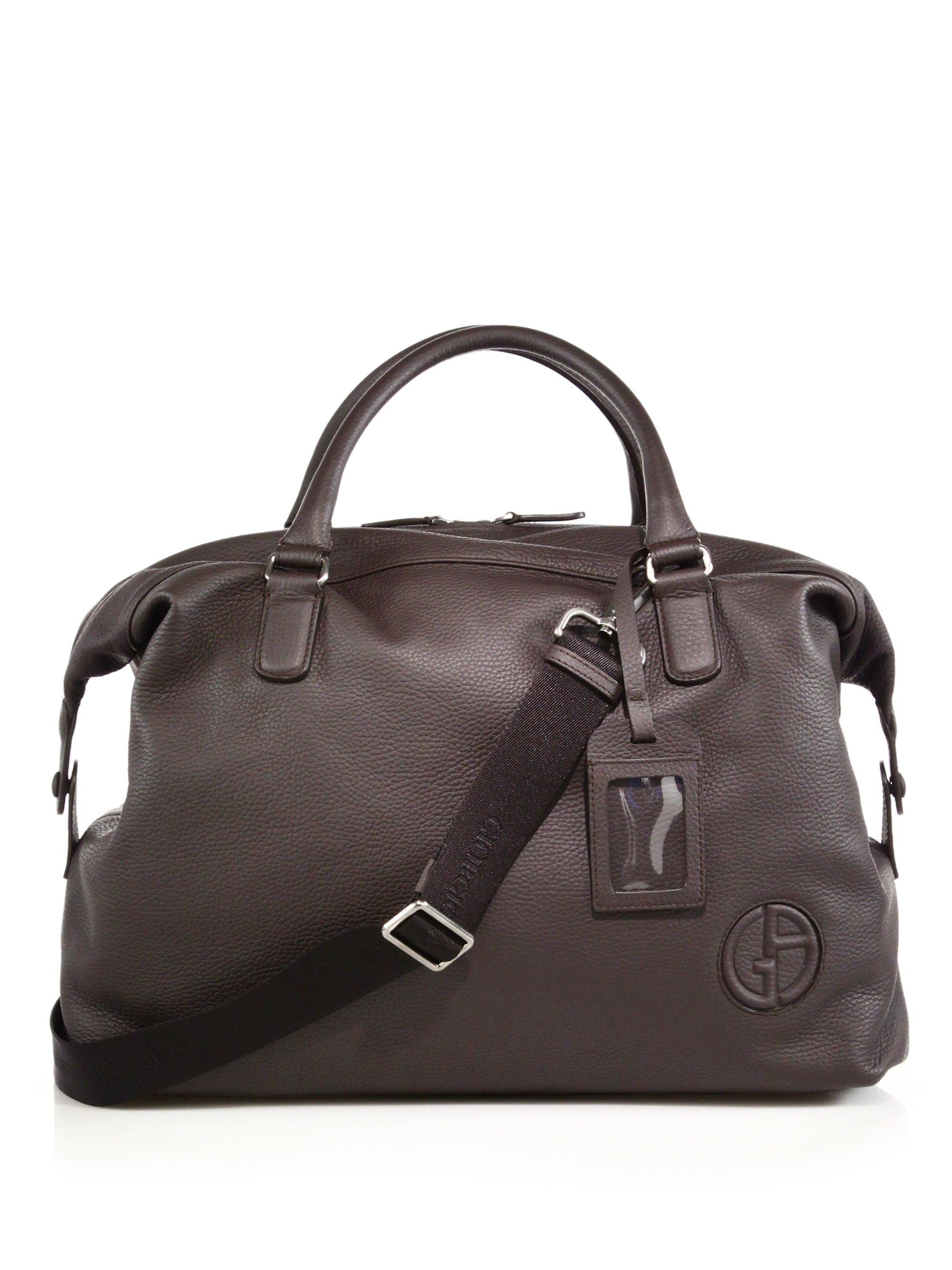 90ee907f8d01 Lyst - Giorgio Armani Leather Holdall in Brown for Men