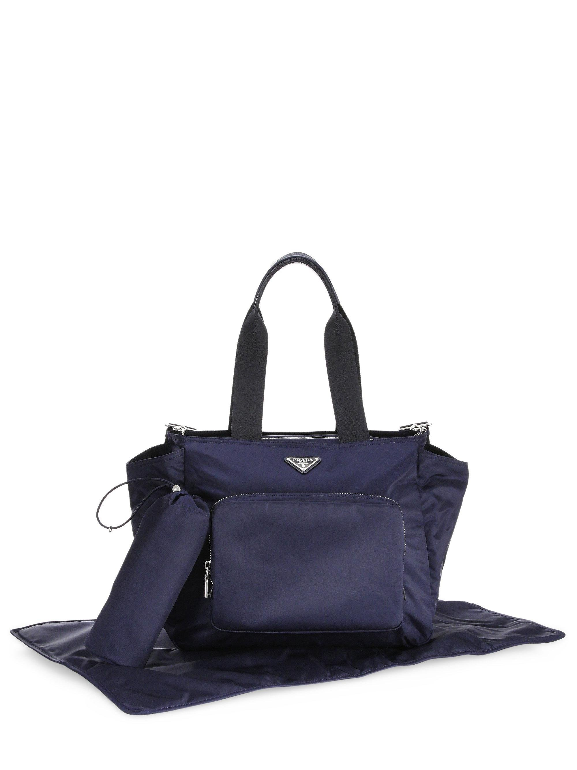 3252f936b54b ... italy lyst prada nylon diaper bag in blue 0cb9c 4645b