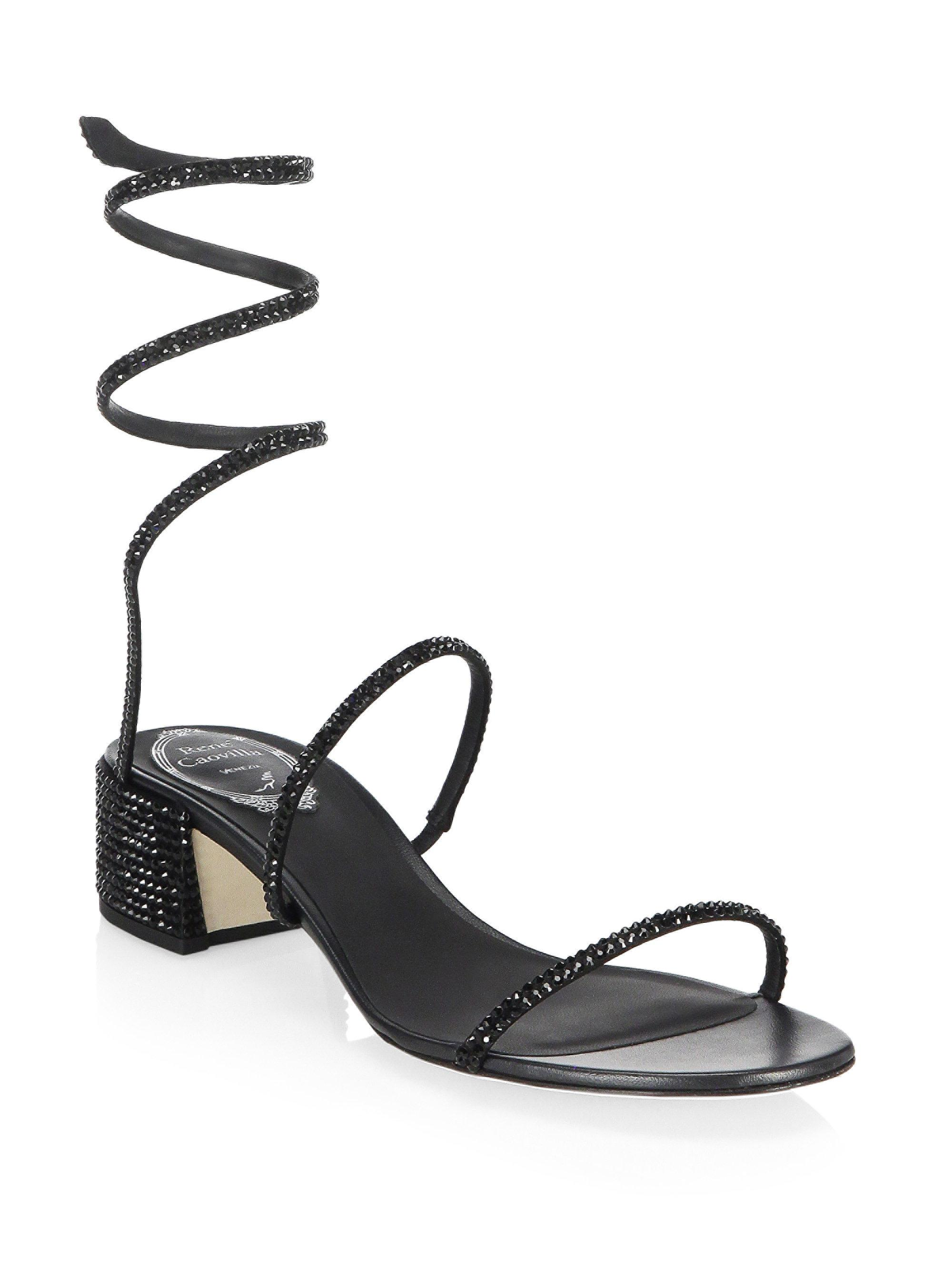 RENé CAOVILLA Leather Block Heel Sandals Zjd0KiBD