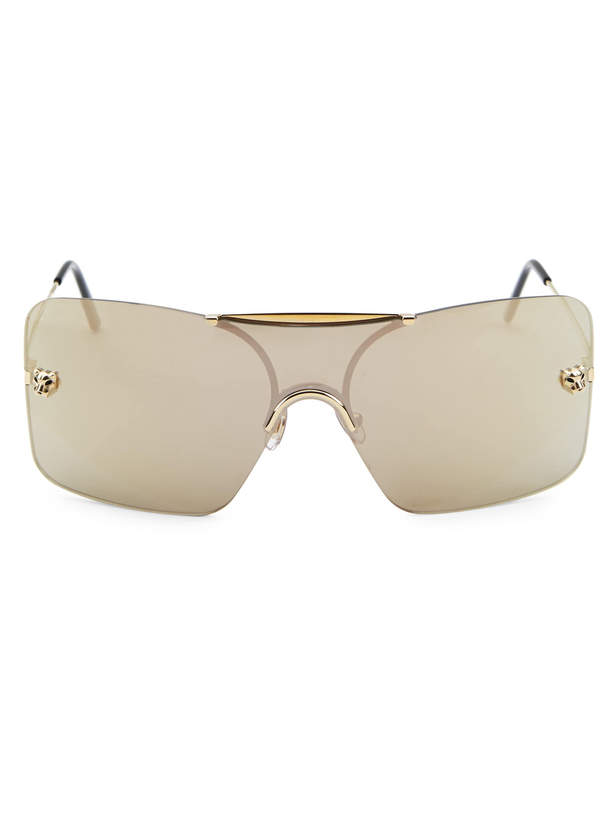 e417eefe39 Cartier Women s Panthere Shield Sunglasses - Champagne - Lyst