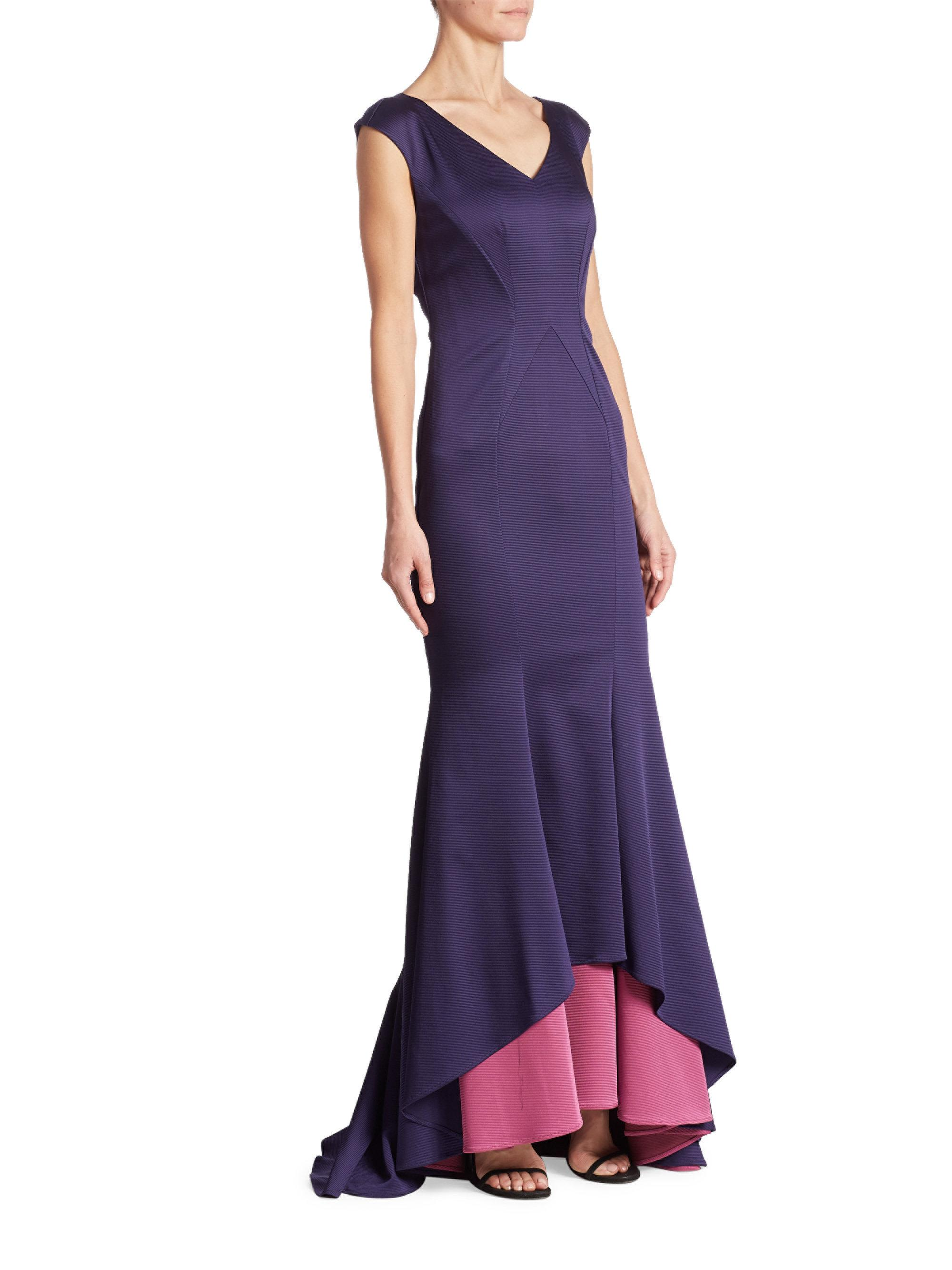 Zac Zac Posen Harmony Mermaid Gown in Purple - Lyst