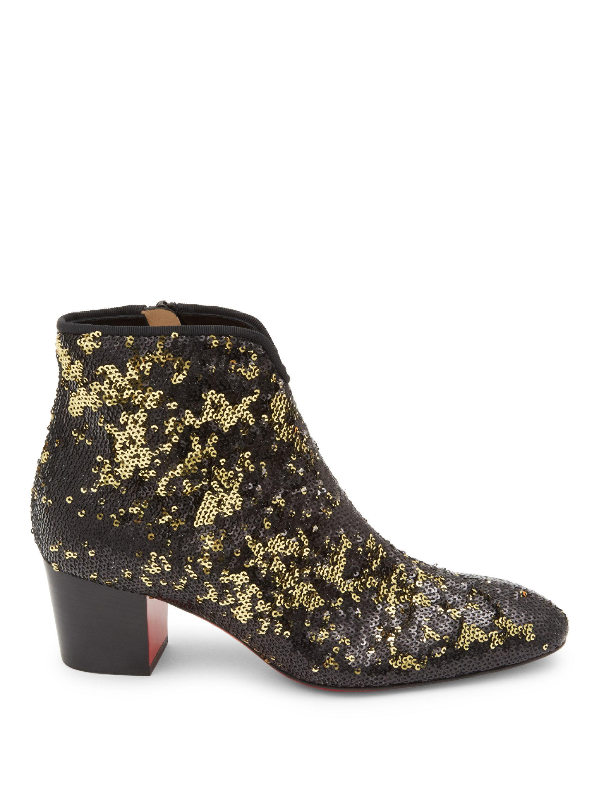 Christian Louboutin Suede Sequin-Embellished Booties discount new wholesale price online free shipping get authentic low shipping fee for sale discount footlocker finishline D7kTP