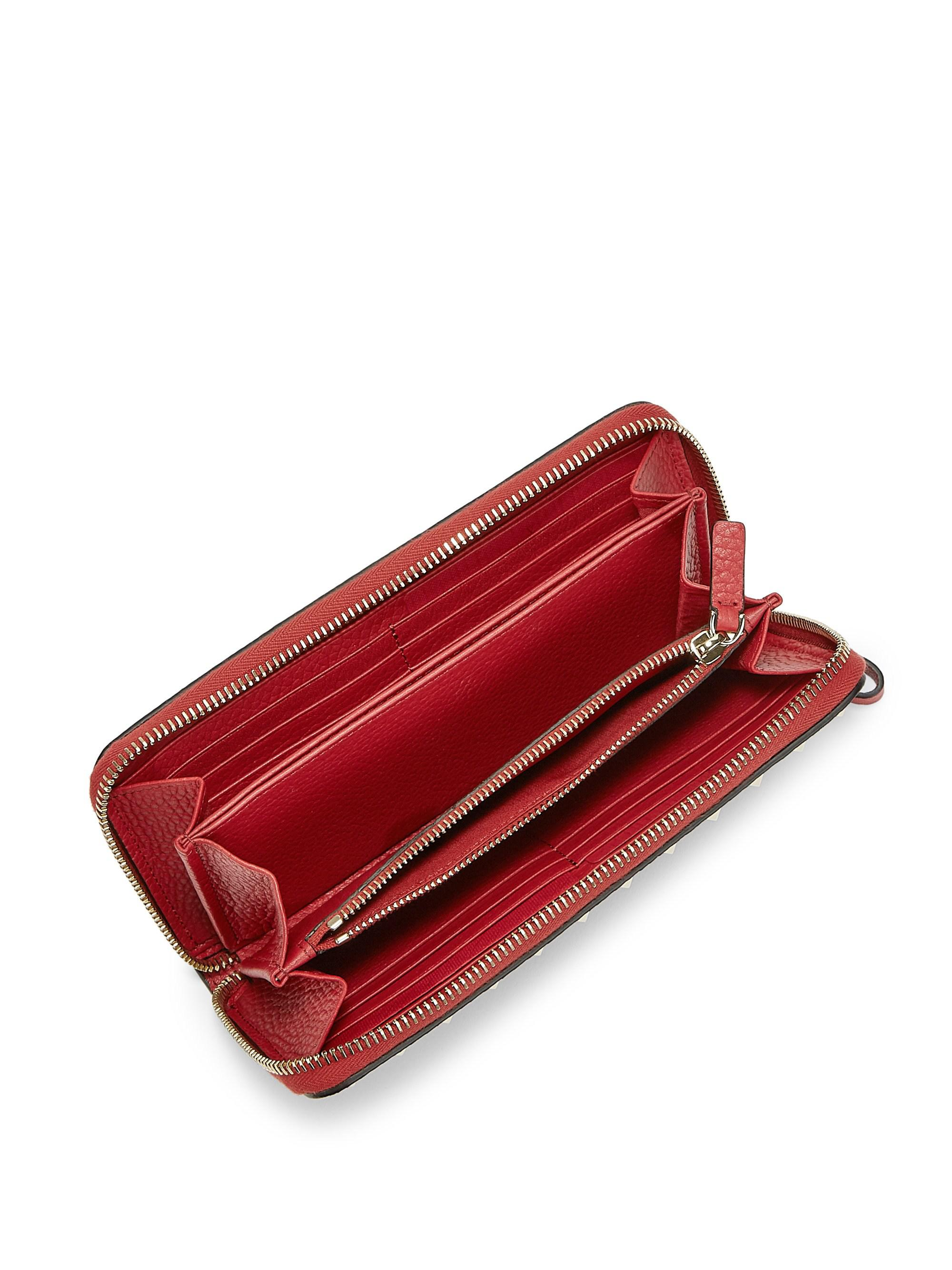 9b0d69c14e6 Valentino - Red Rockstud Leather Zip Around Continental Wallet - Lyst. View  fullscreen