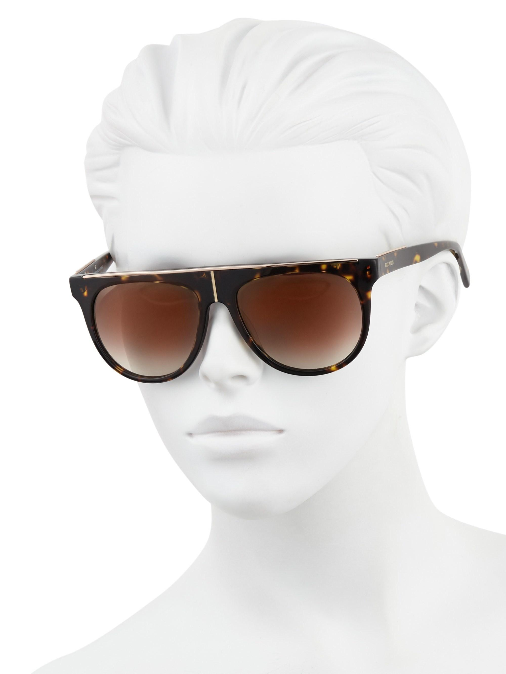7d4c172ee3a Lyst - Balmain 55mm Flat-top Sunglasses in Brown