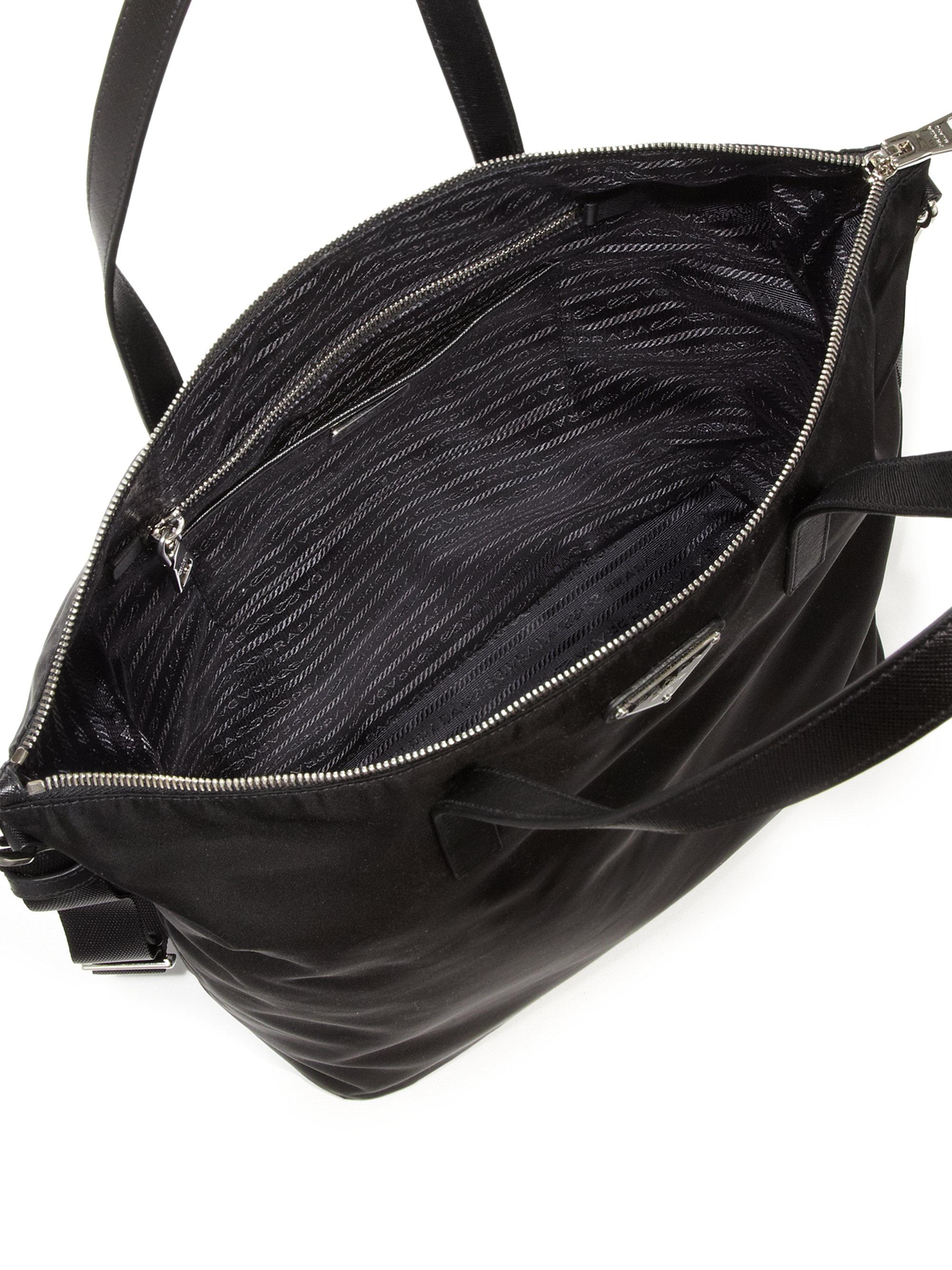 Nylon Leather Zip Tote