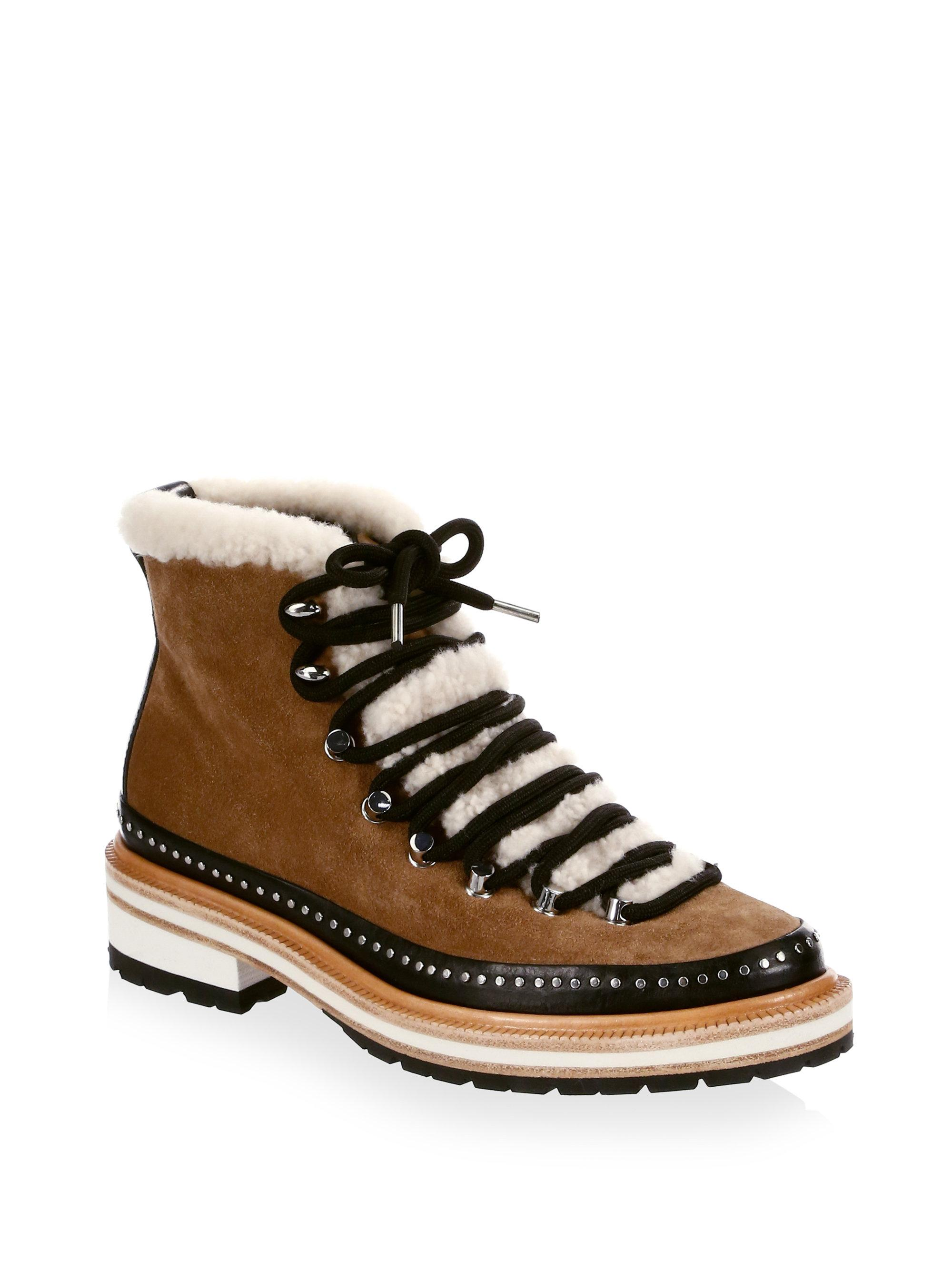 b5b2d17be76 Rag & Bone. Women's Brown Compass Shearling And Leather-trimmed Suede Ankle  Boots