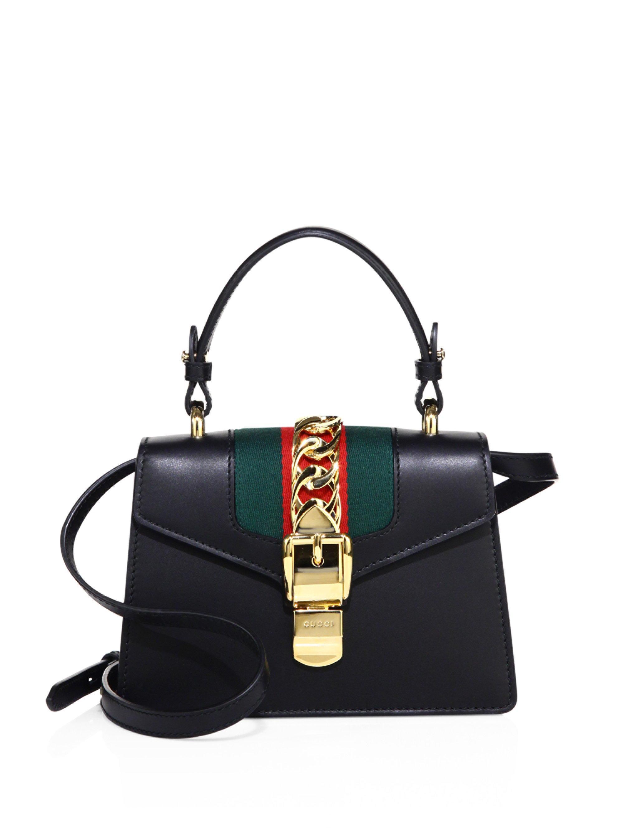 831de11fe Gucci Mini Sylvie Leather Shoulder Bag in Black - Lyst