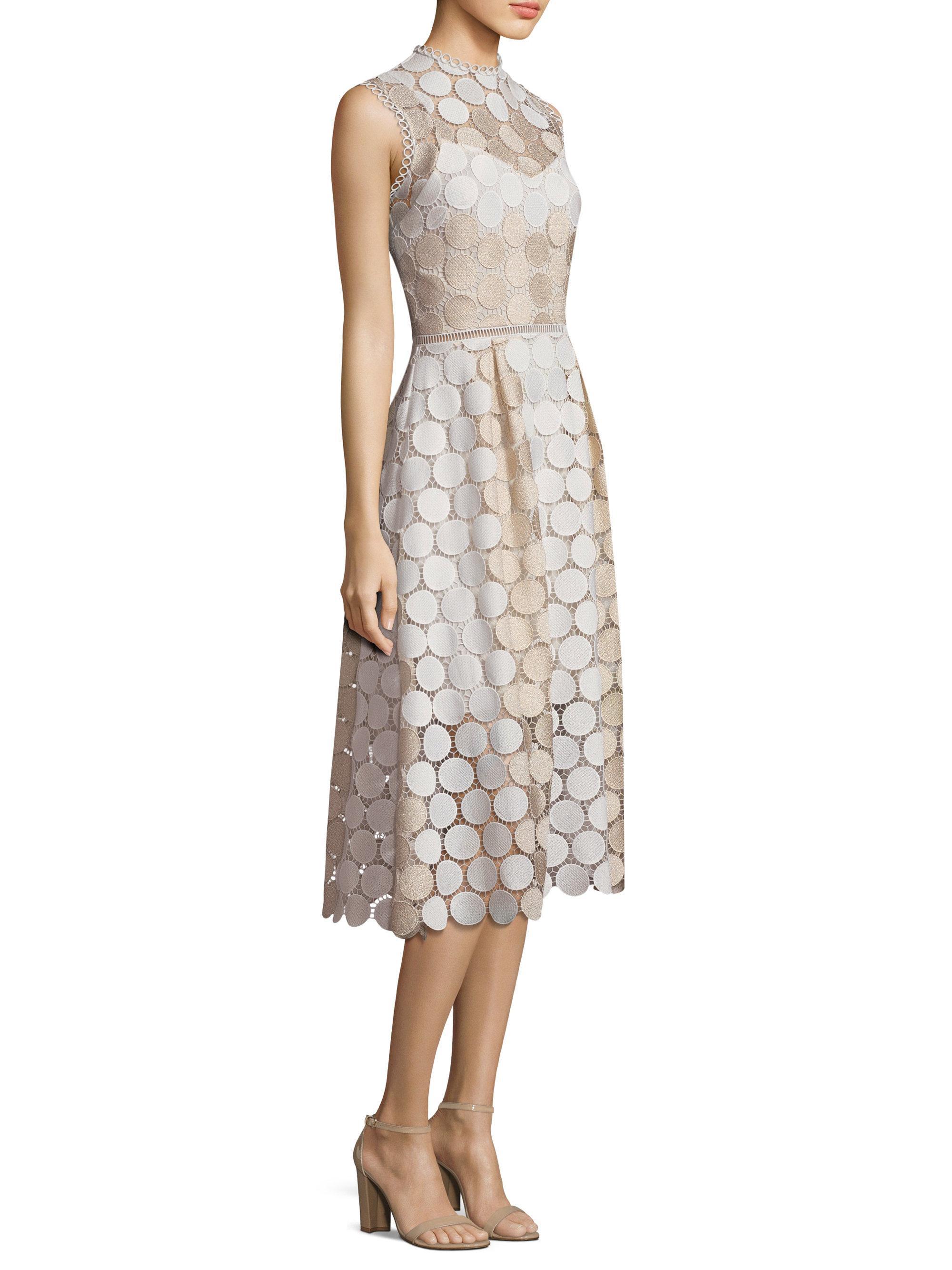 d8a26927afb Shoshanna Lace Midi Fit   Flare Dress in Metallic - Lyst