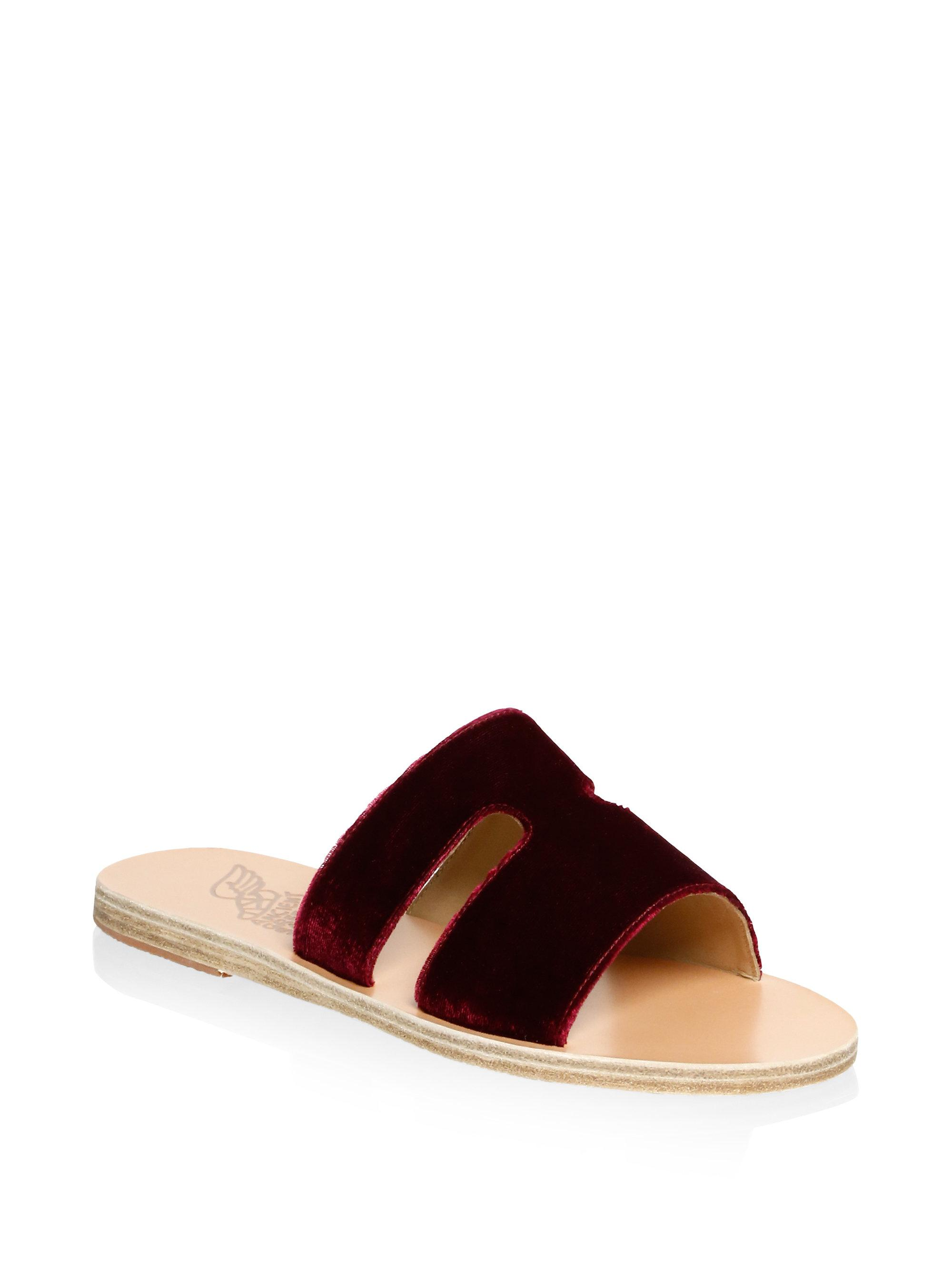 Ancient Greek Sandals Apteros Velvet Slides iOlbVowFk