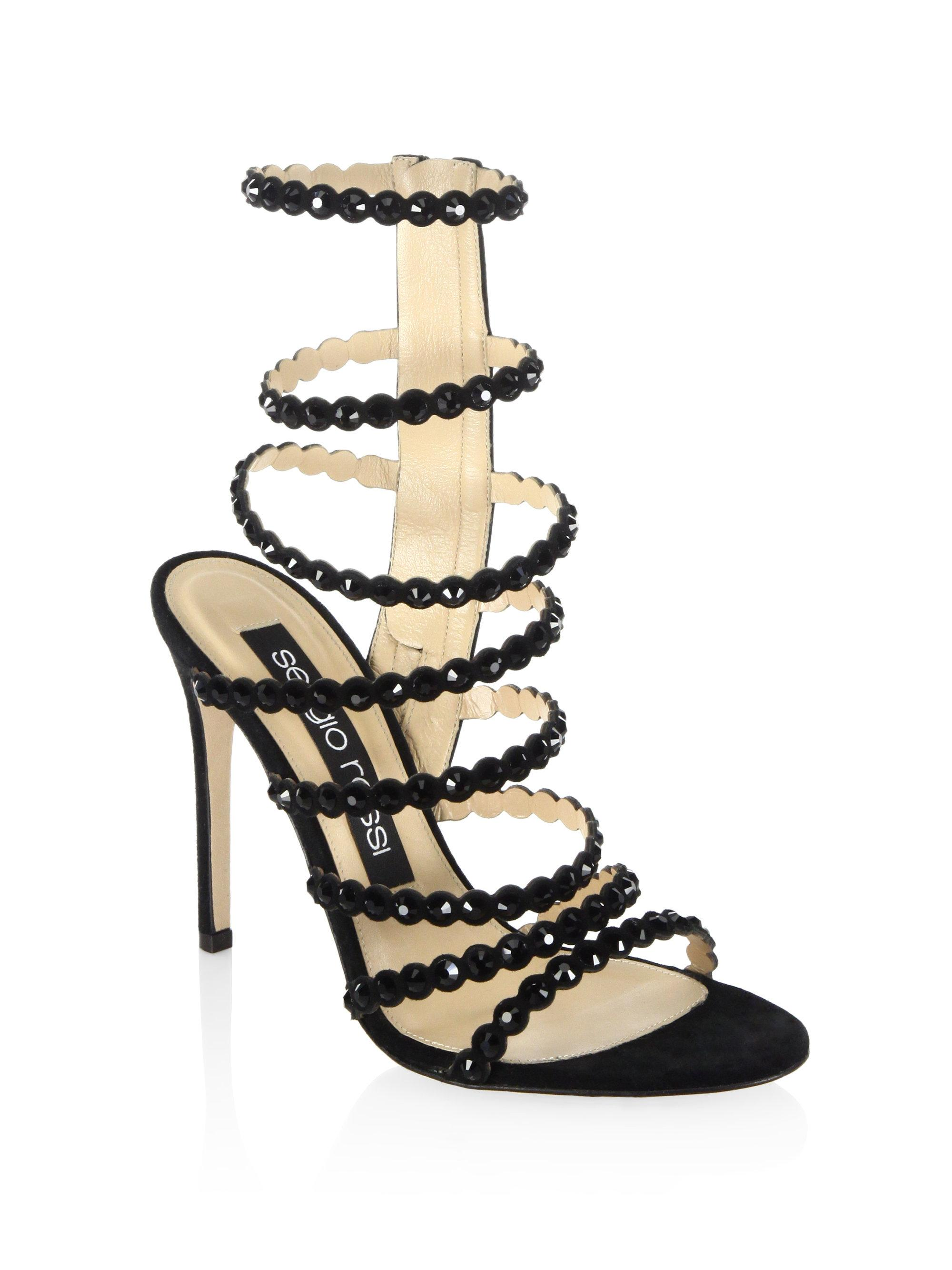 a35954e4e654 Lyst - Sergio Rossi Kimberly Crystal Gladiator Sandals in Metallic