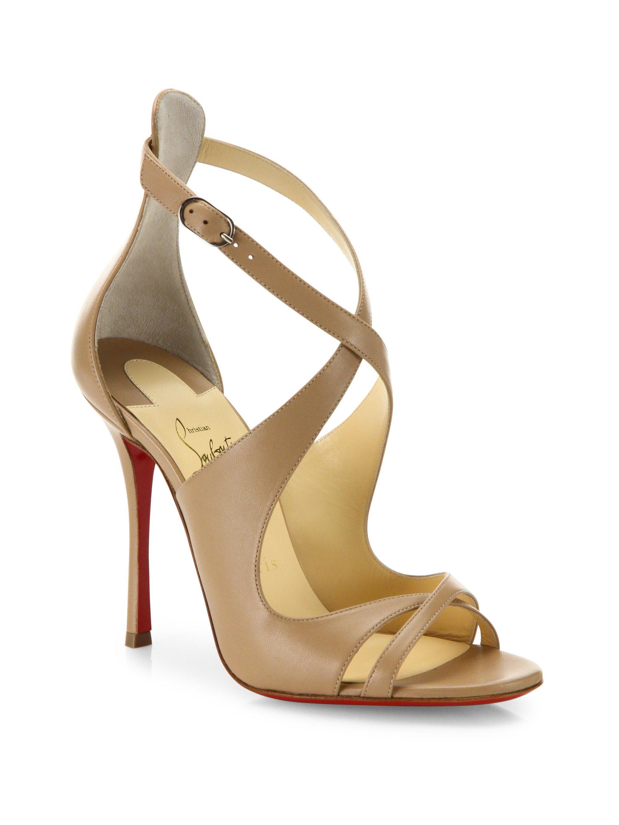 on sale c1cee ea175 Christian Louboutin Metallic Malefissima Leather Sandals
