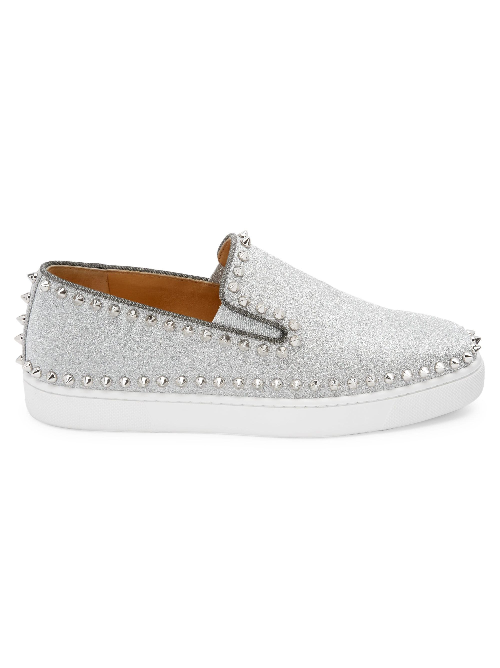 271cec03acff Lyst - Christian Louboutin Pik Glitter Boat Shoes in Metallic