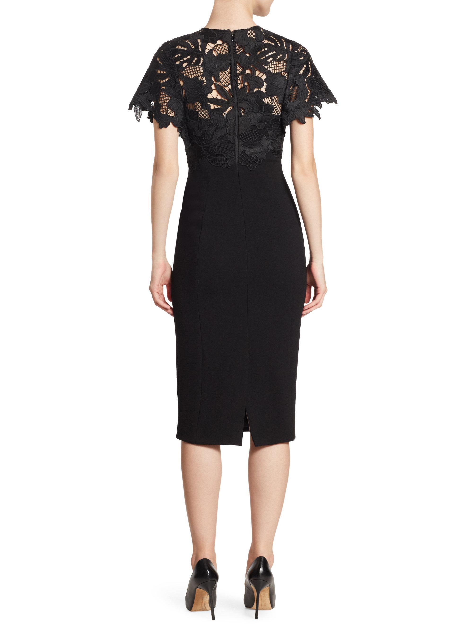 Lela rose lace sheath dress in black lyst for Saks fifth avenue wedding guest dresses
