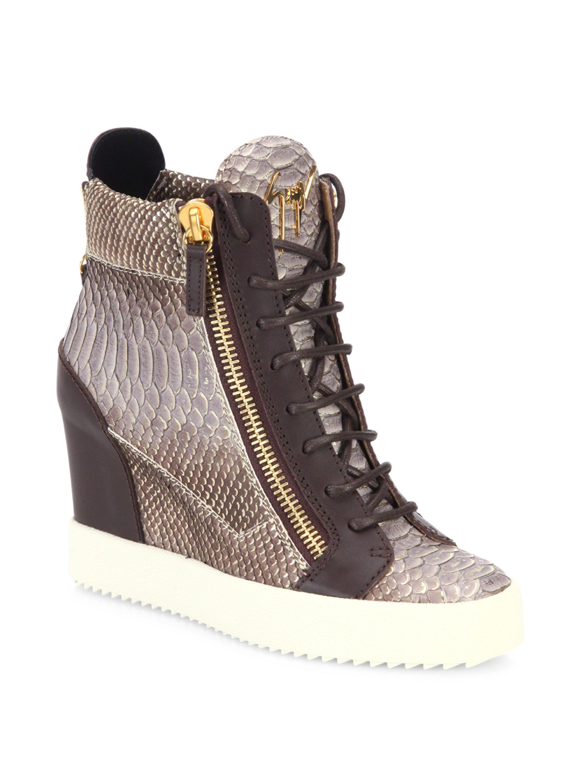 real cheap price Giuseppe Zanotti Embossed Leather Wedge Sneakers cheap how much sale best place wide range of for sale fhXQgv5sv