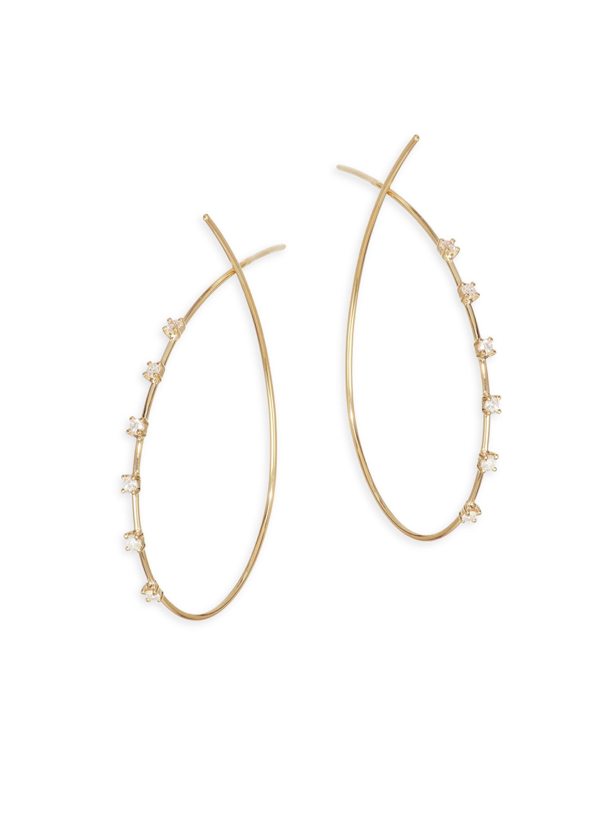 Lyst - Lana Jewelry Scattered Diamond Wire Hoop Earrings in Metallic