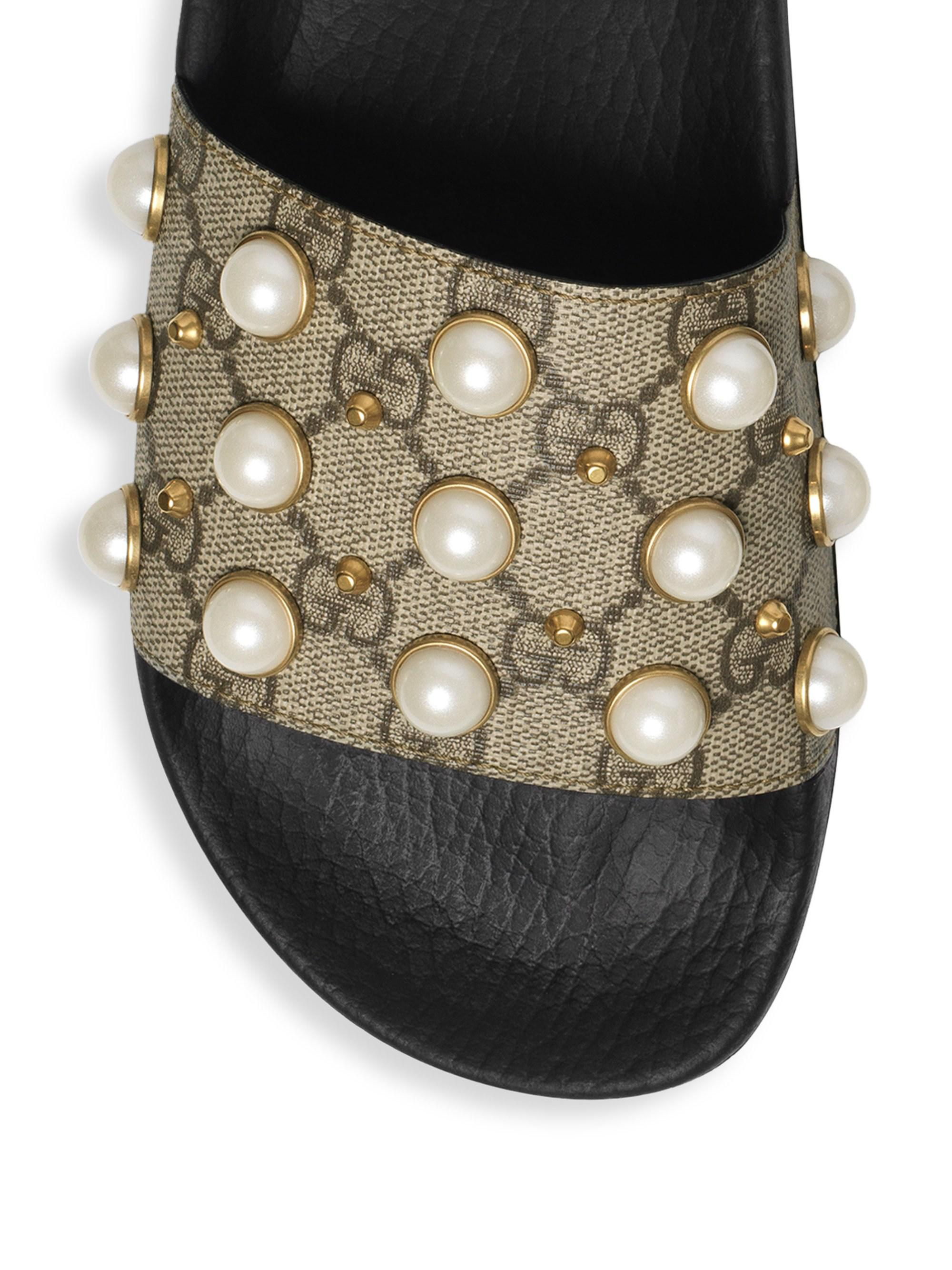 021c6caf7 Gucci GG Supreme Slides With Pearls in Natural - Lyst