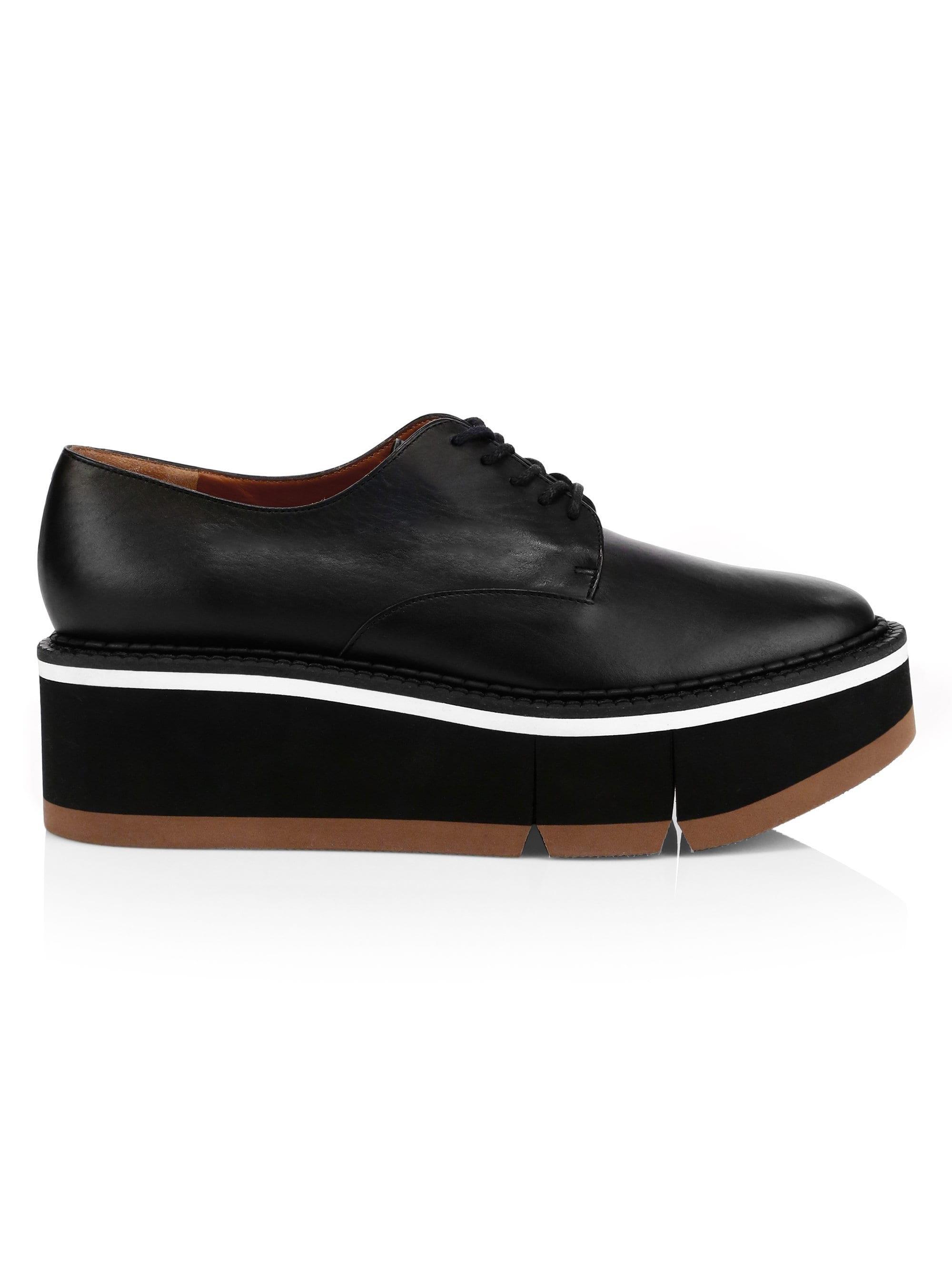 7abfae935827 Lyst - Clergerie Barabara Leather Flatform Oxfords in Black